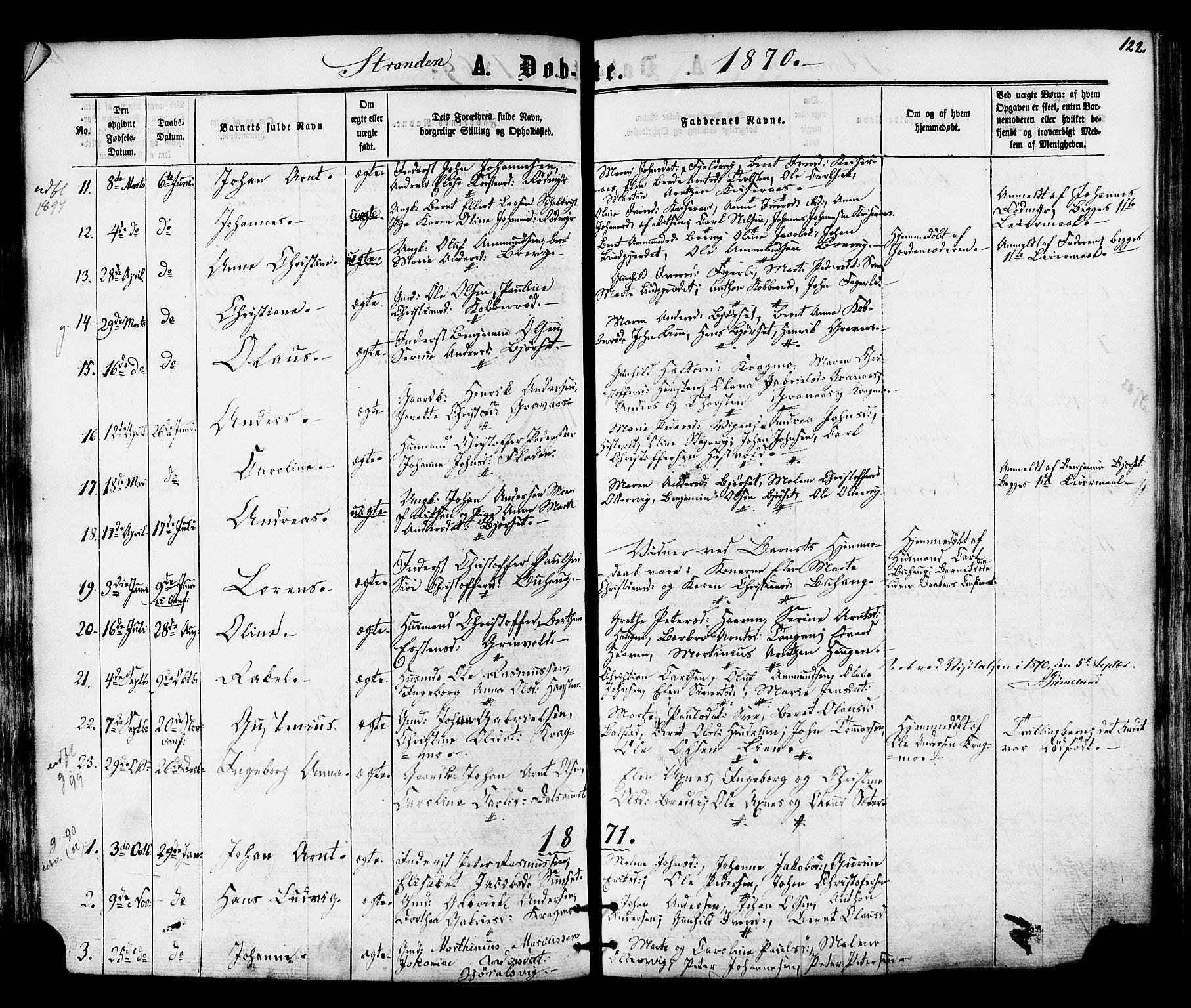 SAT, Ministerialprotokoller, klokkerbøker og fødselsregistre - Nord-Trøndelag, 701/L0009: Ministerialbok nr. 701A09 /2, 1864-1882, s. 122