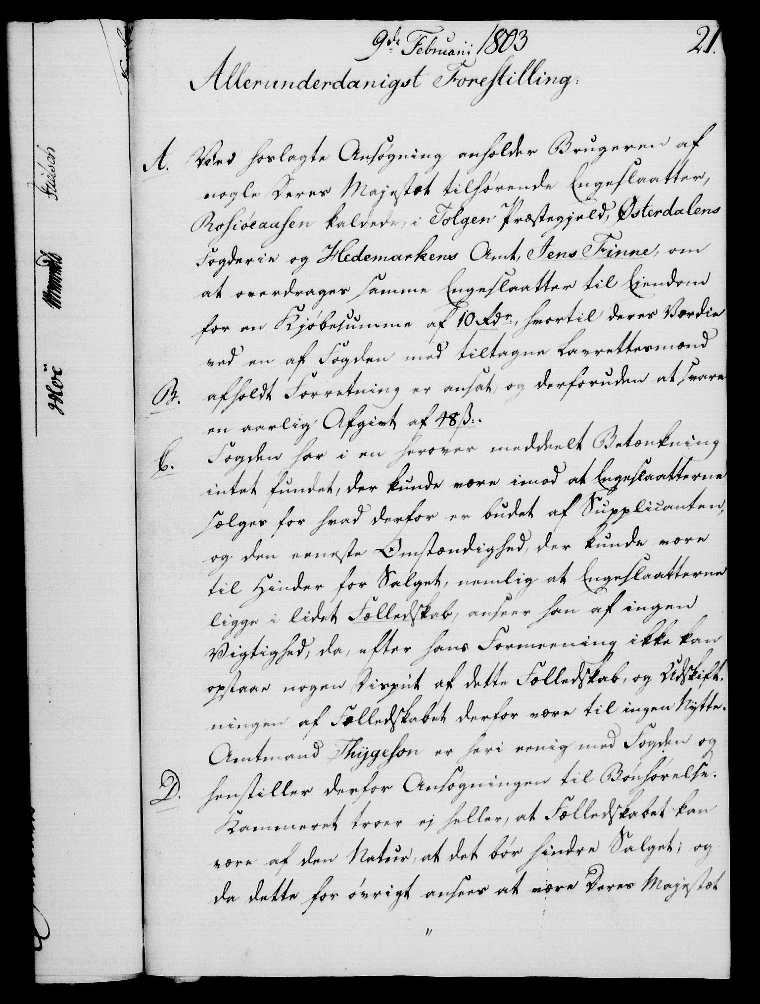 RA, Rentekammeret, Kammerkanselliet, G/Gf/Gfa/L0085: Norsk relasjons- og resolusjonsprotokoll (merket RK 52.85), 1803, s. 135