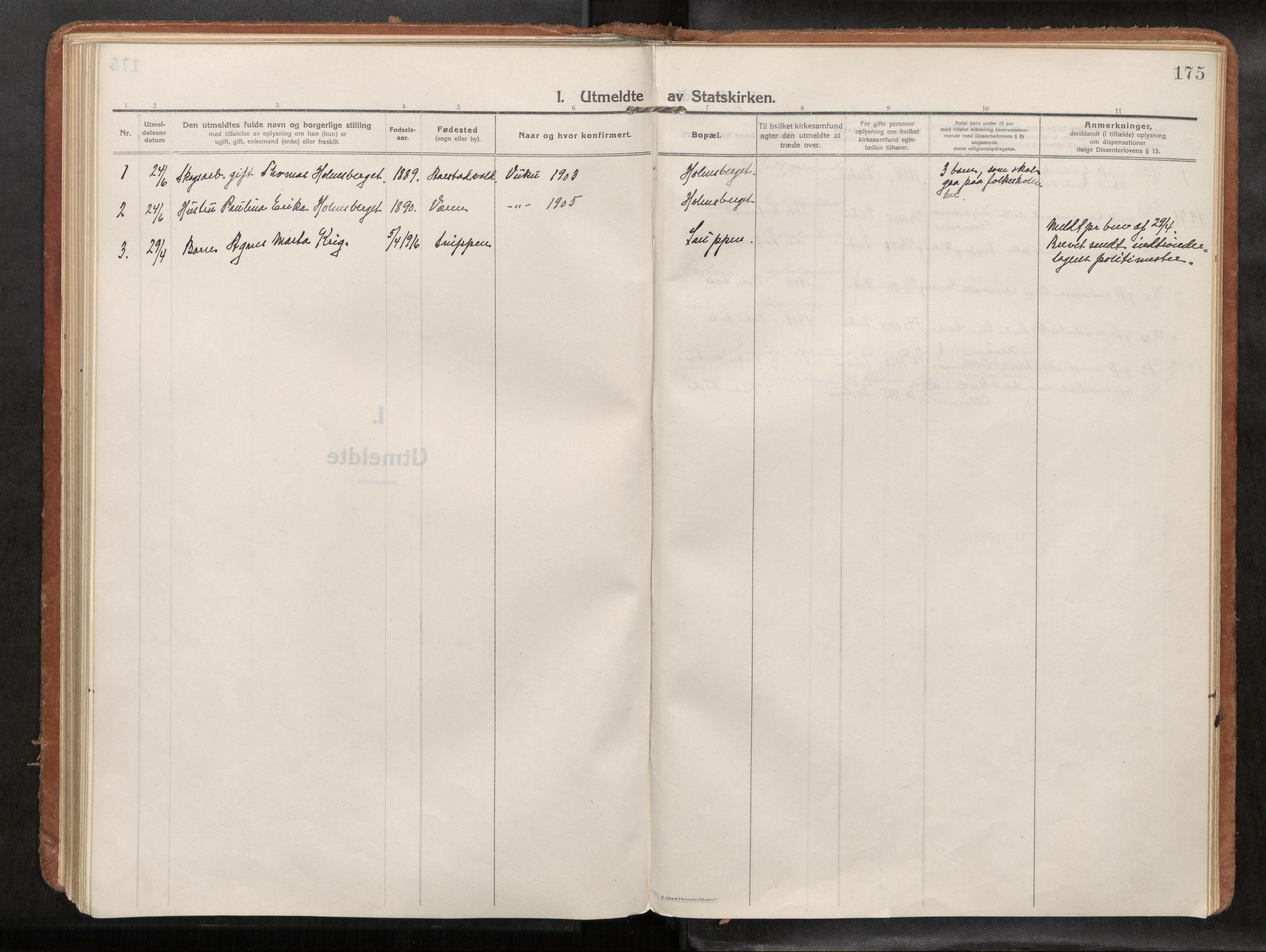 SAT, Verdal sokneprestkontor*, Ministerialbok nr. 1, 1916-1928, s. 175