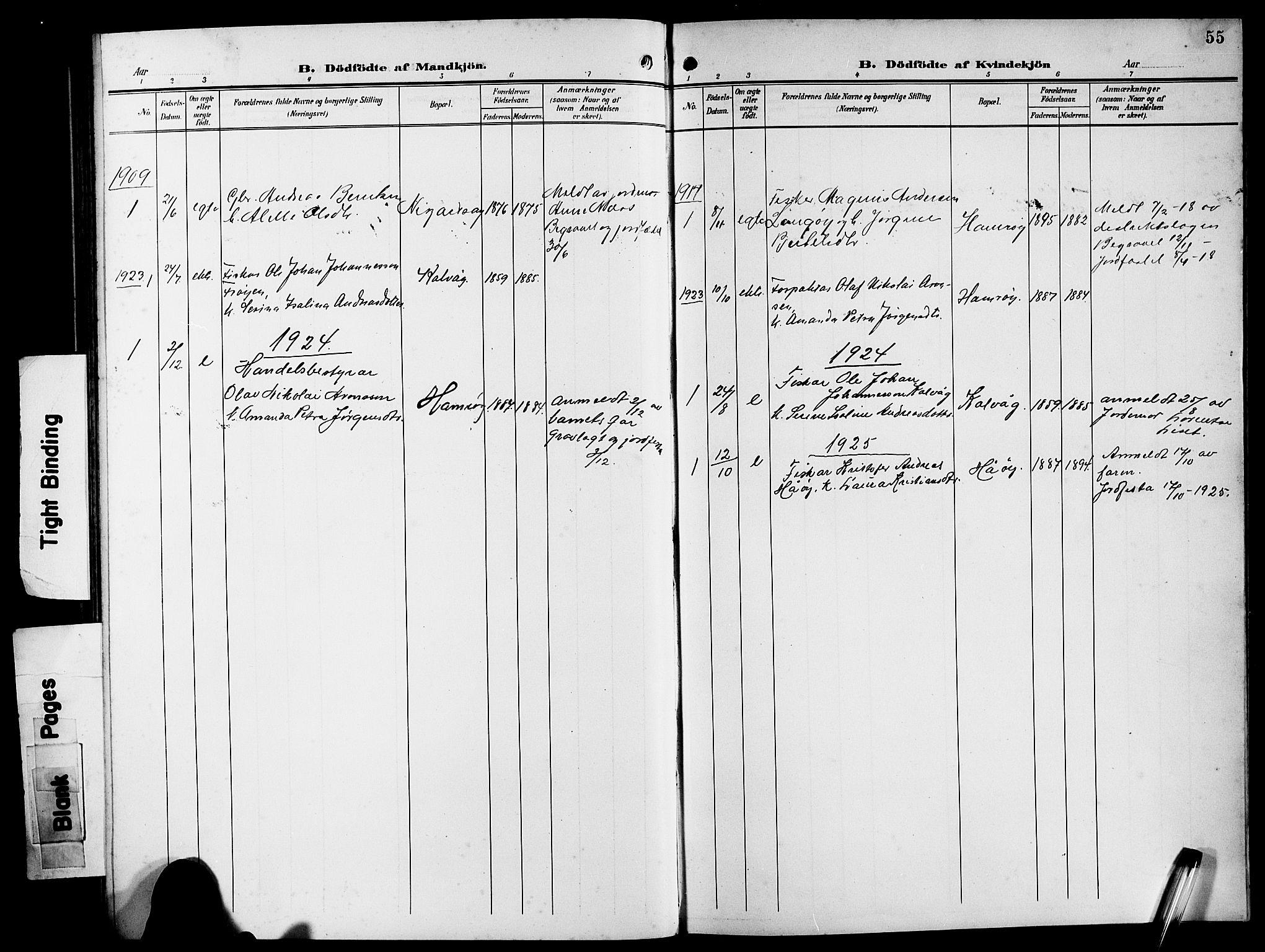 SAB, Bremanger Sokneprestembete, H/Hab: Klokkerbok nr. B 1, 1906-1925, s. 55