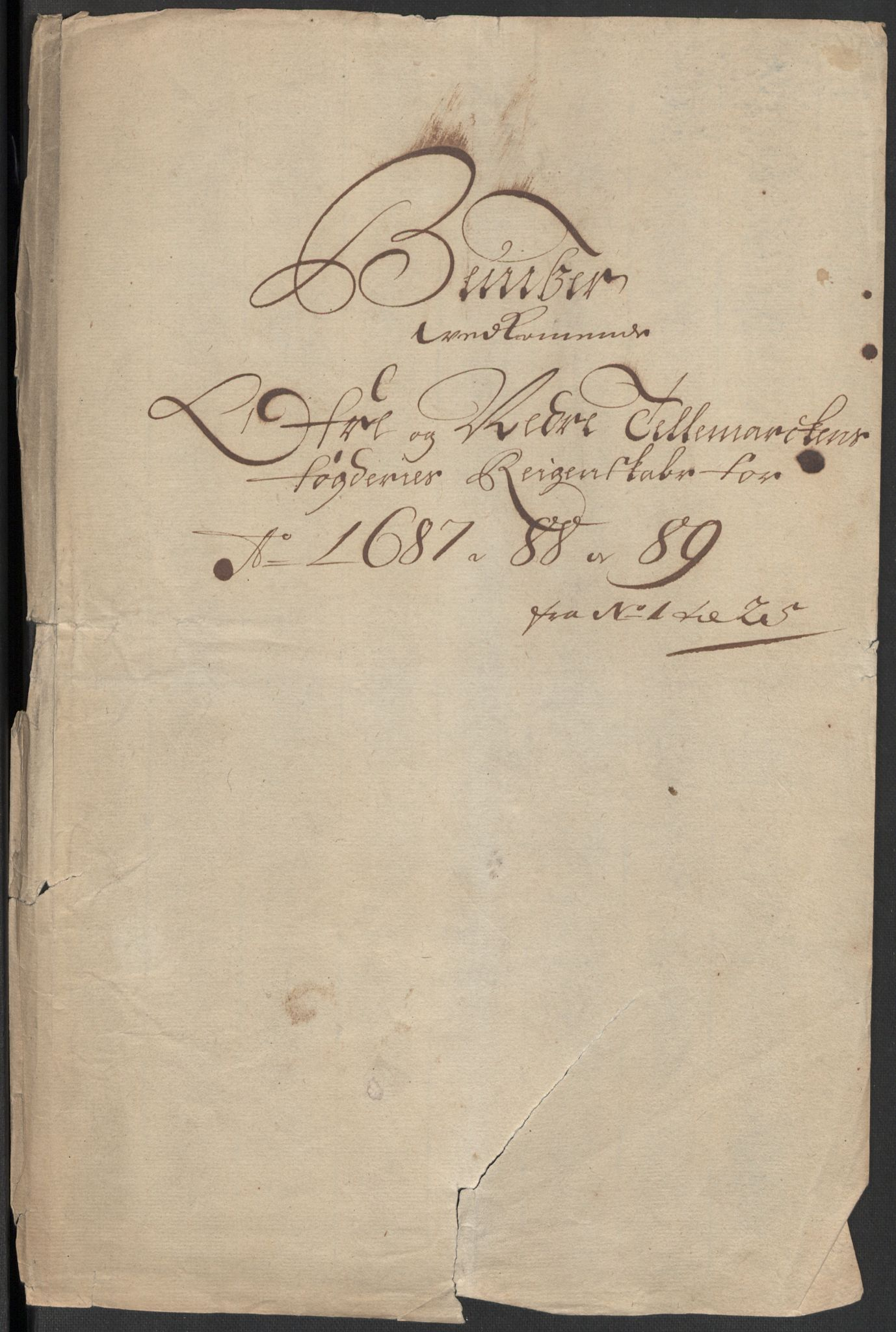RA, Rentekammeret inntil 1814, Reviderte regnskaper, Fogderegnskap, R35/L2088: Fogderegnskap Øvre og Nedre Telemark, 1687-1689, s. 226