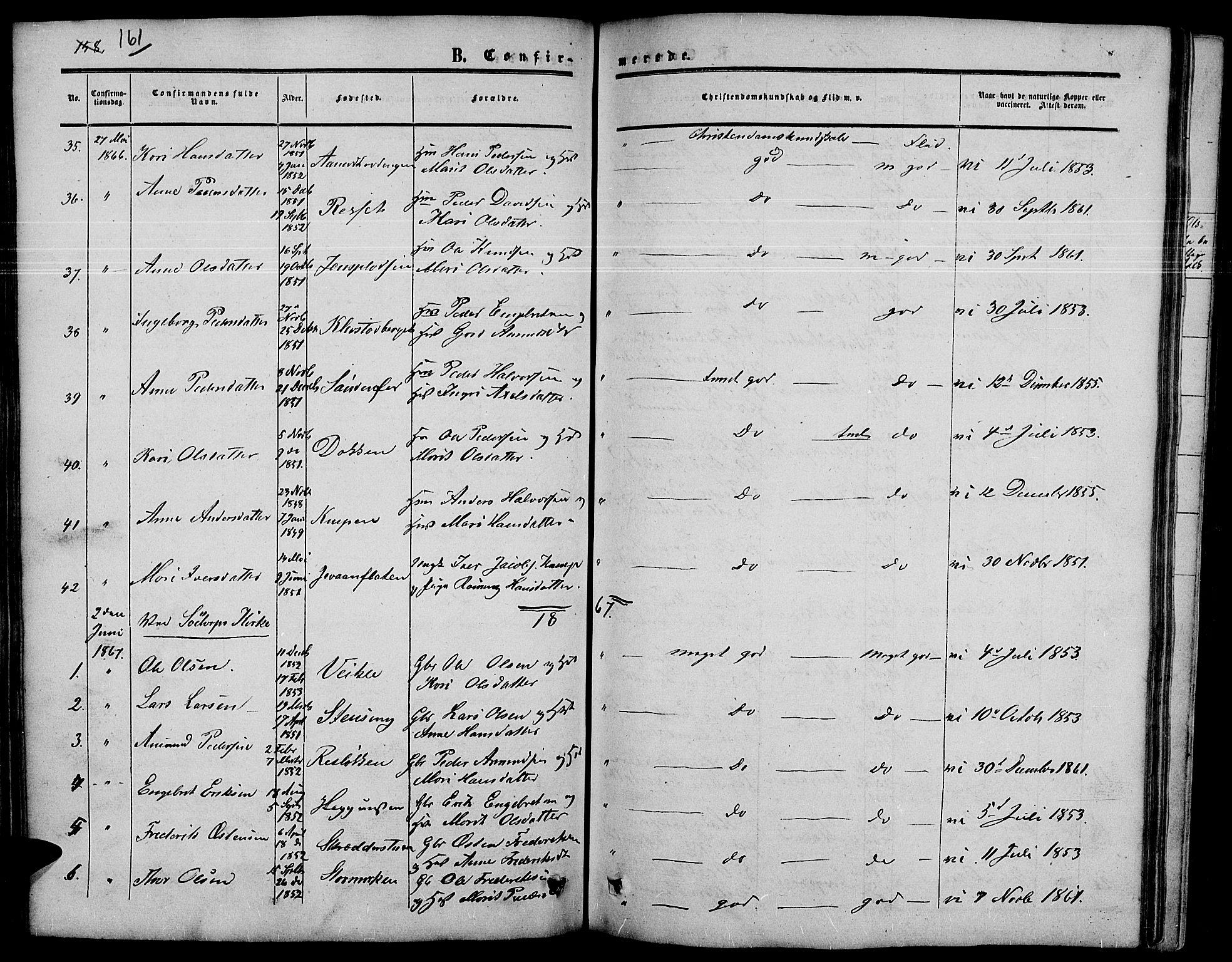 SAH, Nord-Fron prestekontor, Klokkerbok nr. 3, 1851-1886, s. 161