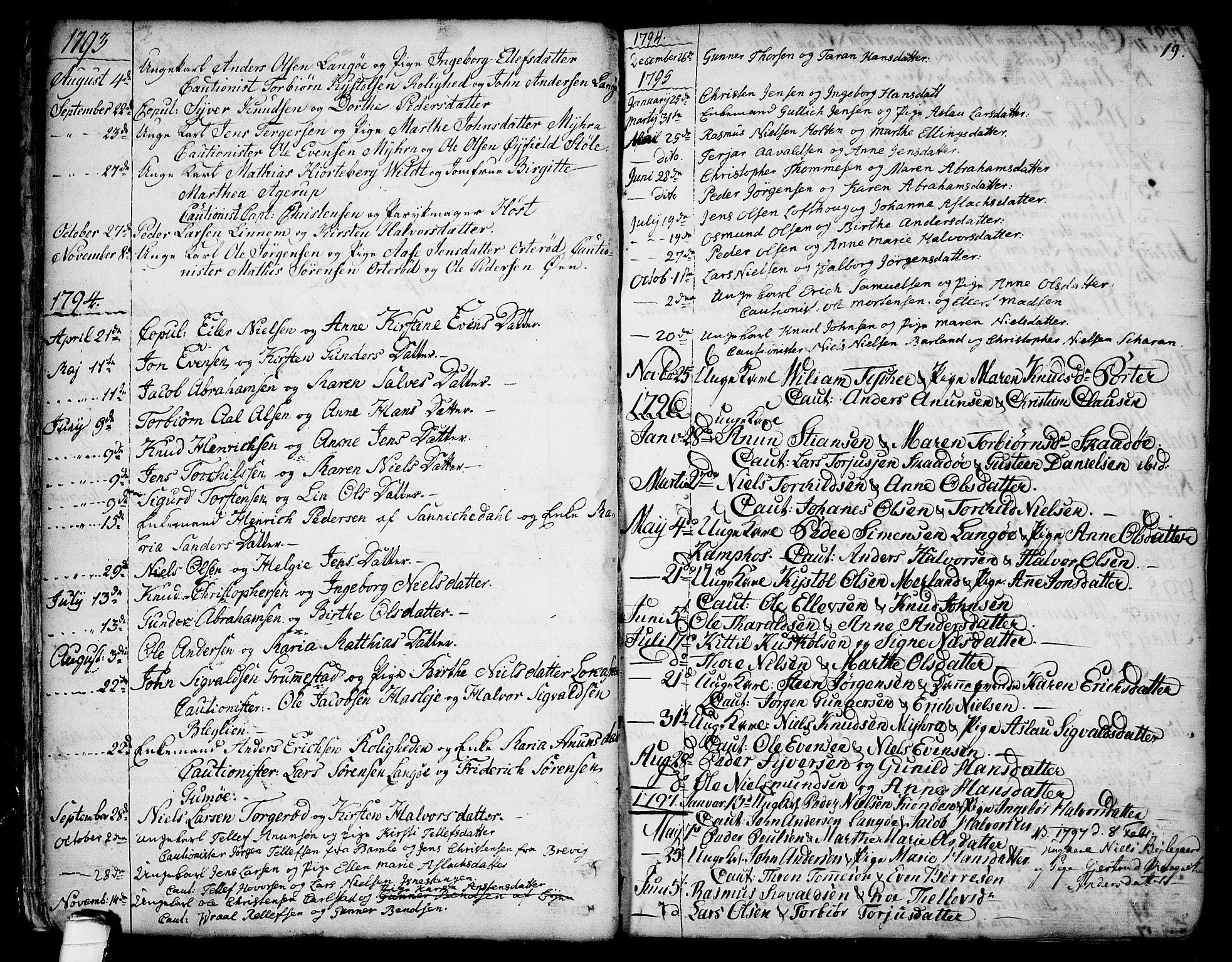 SAKO, Sannidal kirkebøker, F/Fa/L0002: Ministerialbok nr. 2, 1767-1802, s. 19