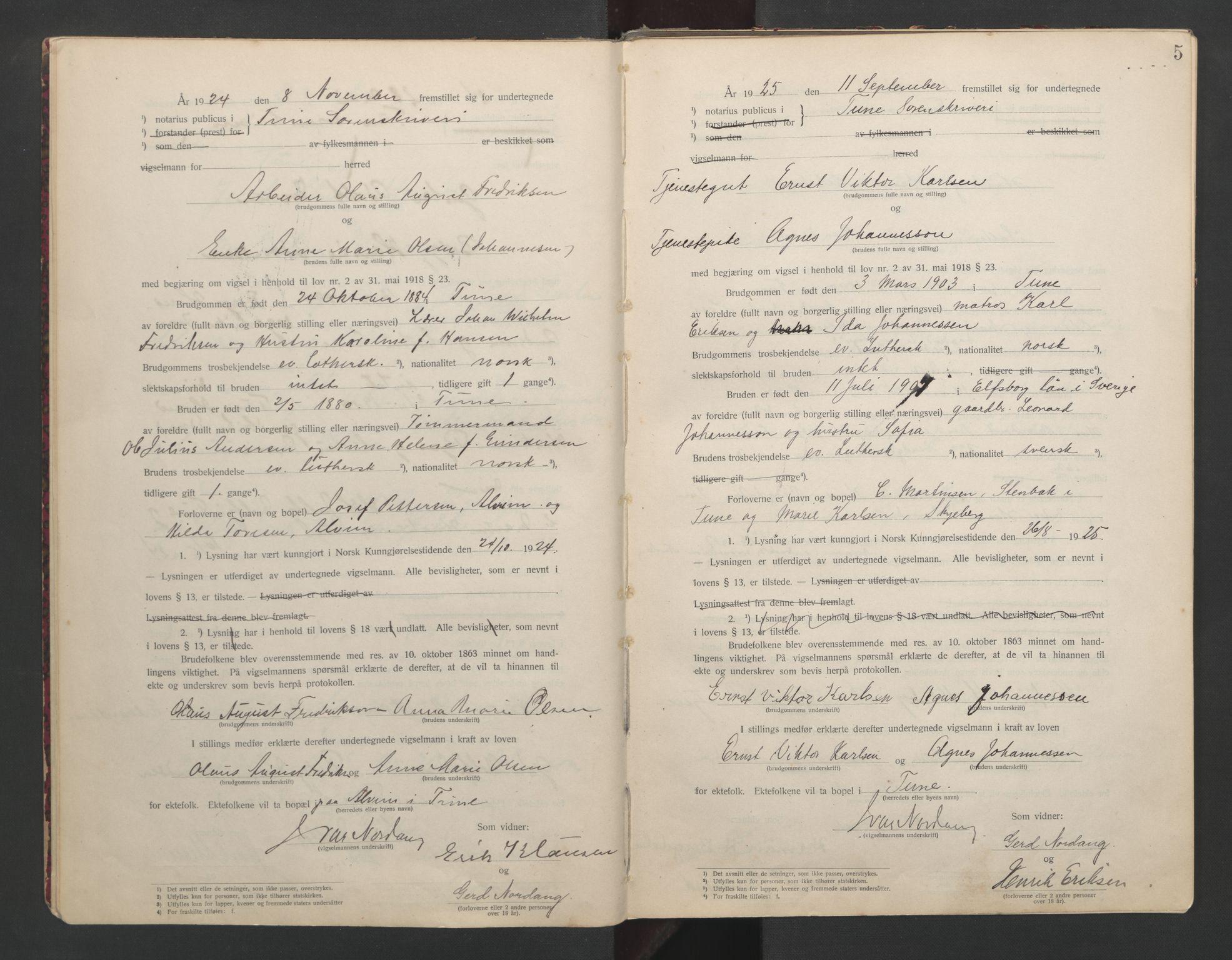 SAO, Tune sorenskriveri, L/Lb/L0001: Vigselprotokoll, 1923-1943, s. 5
