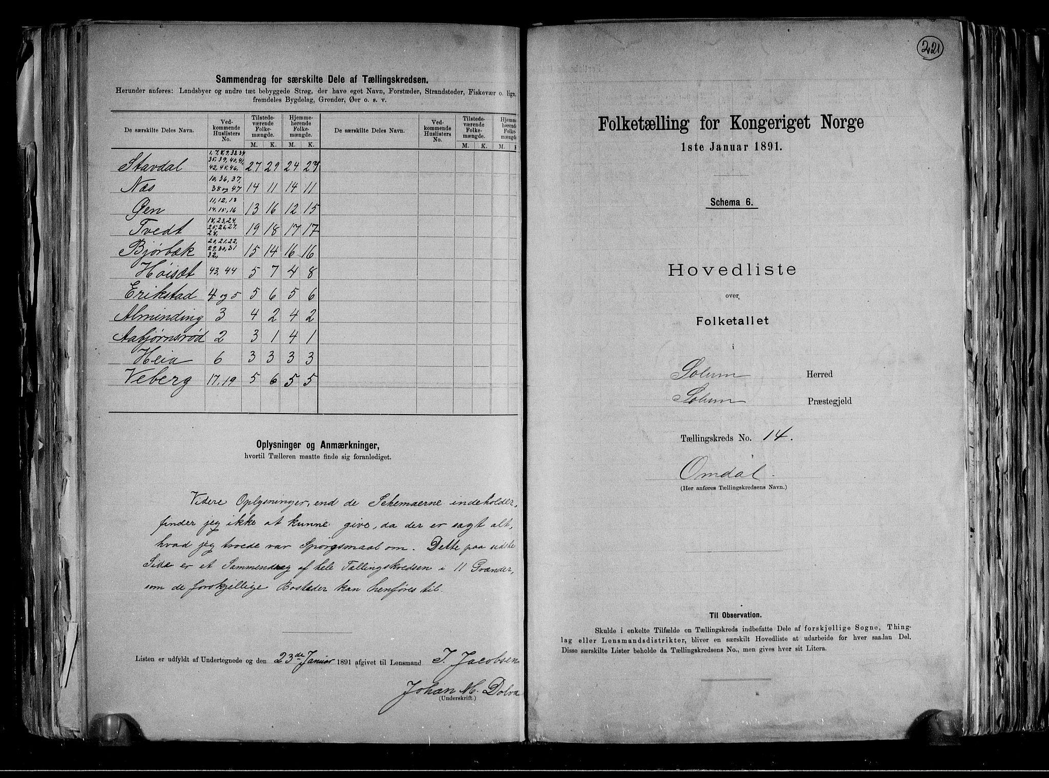 RA, Folketelling 1891 for 0818 Solum herred, 1891, s. 36