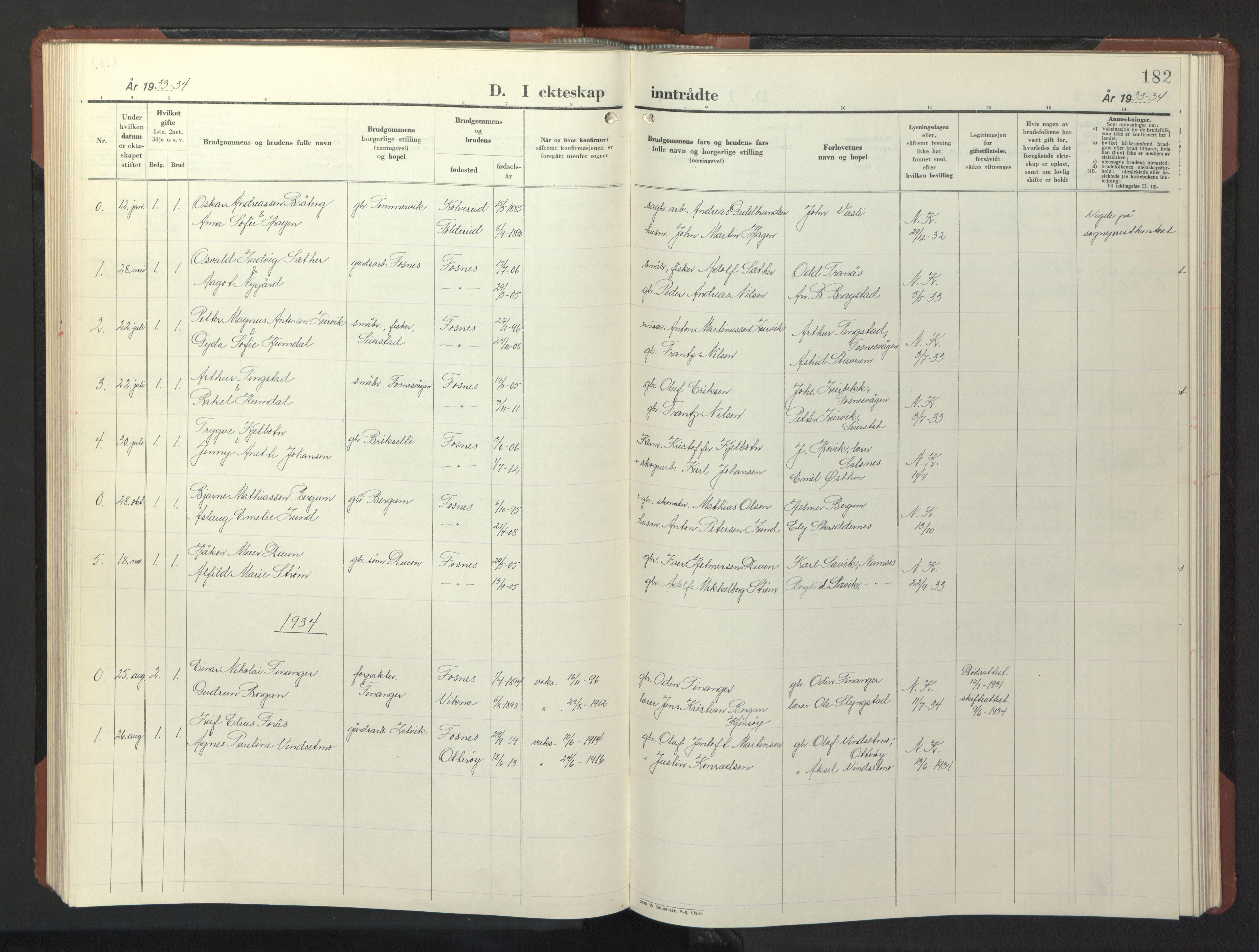 SAT, Ministerialprotokoller, klokkerbøker og fødselsregistre - Nord-Trøndelag, 773/L0625: Klokkerbok nr. 773C01, 1910-1952, s. 182