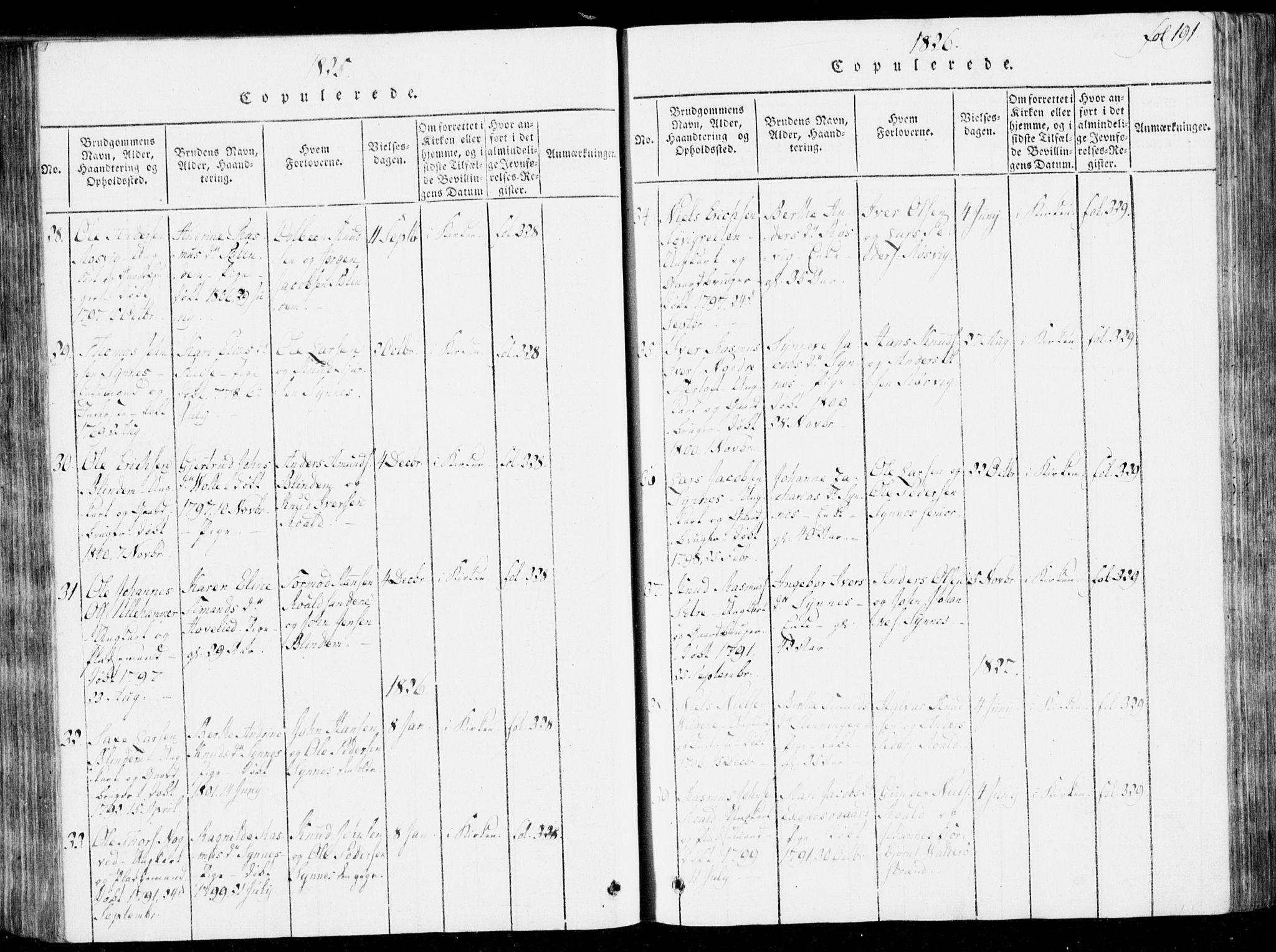 SAT, Ministerialprotokoller, klokkerbøker og fødselsregistre - Møre og Romsdal, 537/L0517: Ministerialbok nr. 537A01, 1818-1862, s. 191