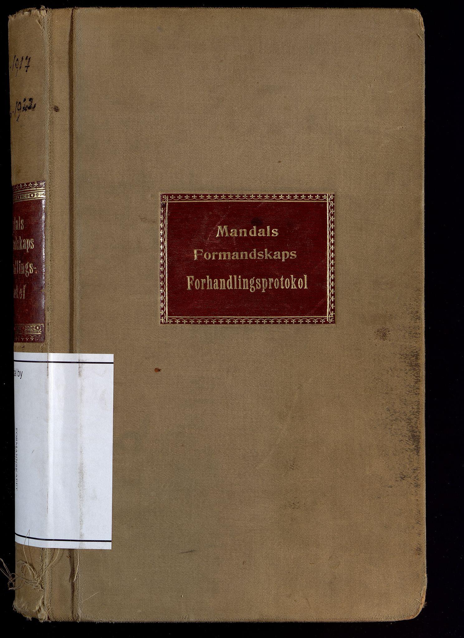 IKAV, Mandal By - Formannskapet, A/L0007: Møtebok, 1917-1922