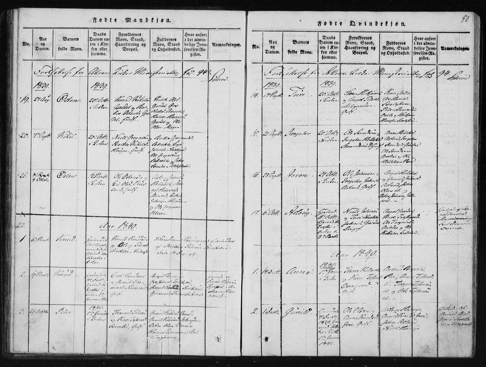 SAKO, Tinn kirkebøker, F/Fb/L0001: Ministerialbok nr. II 1, 1815-1843, s. 50