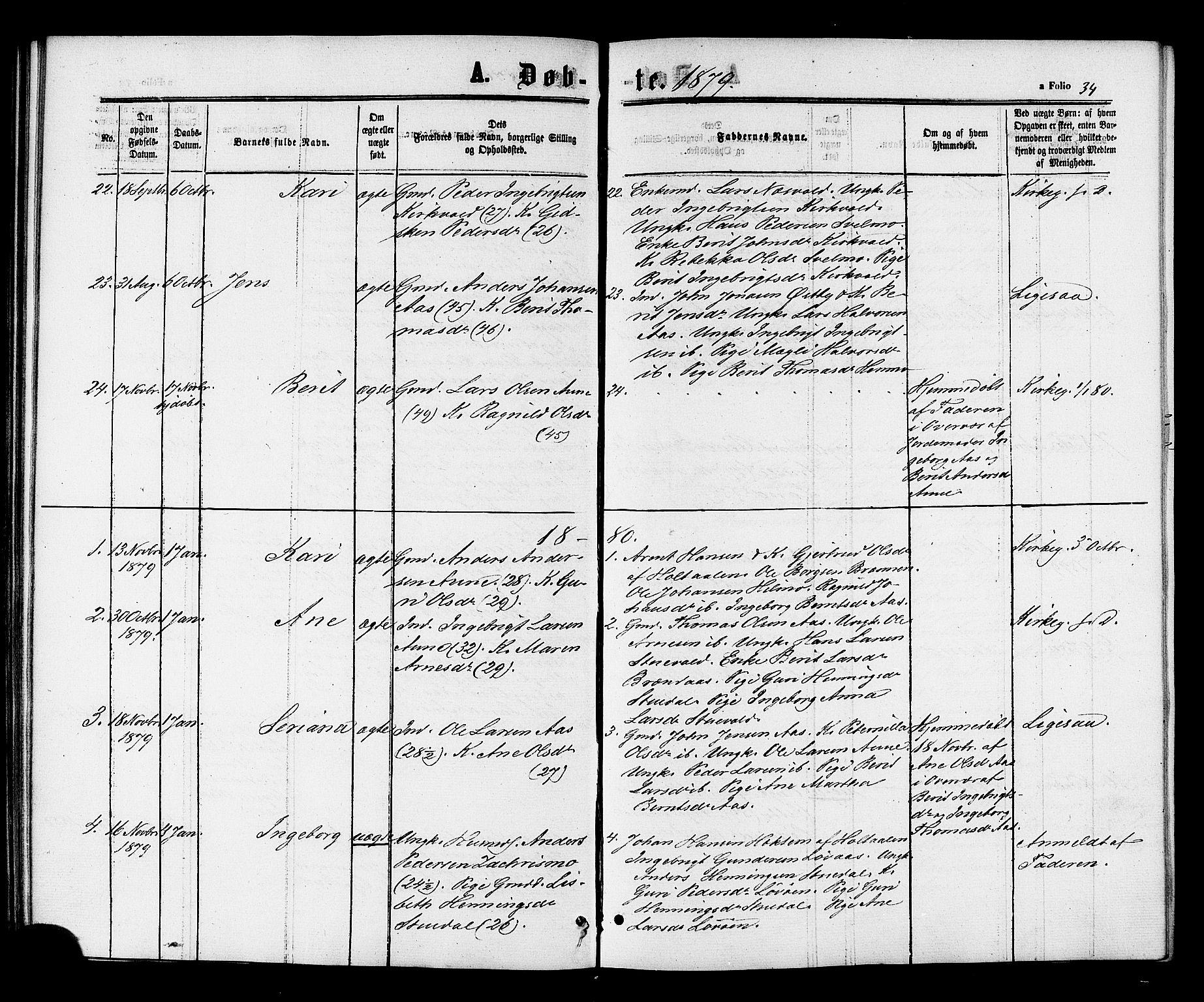 SAT, Ministerialprotokoller, klokkerbøker og fødselsregistre - Sør-Trøndelag, 698/L1163: Ministerialbok nr. 698A01, 1862-1887, s. 34