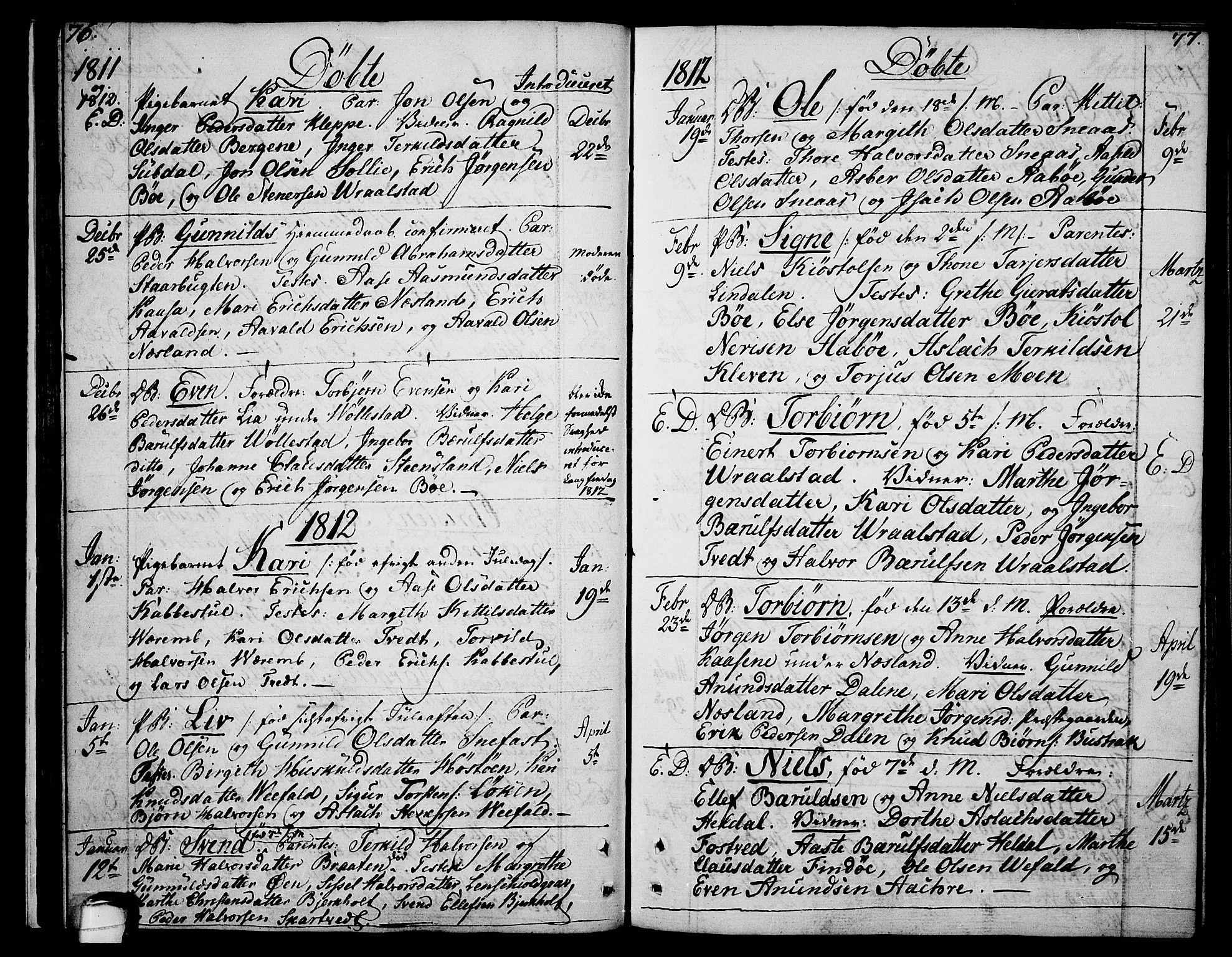 SAKO, Drangedal kirkebøker, F/Fa/L0004: Ministerialbok nr. 4, 1802-1814, s. 76-77