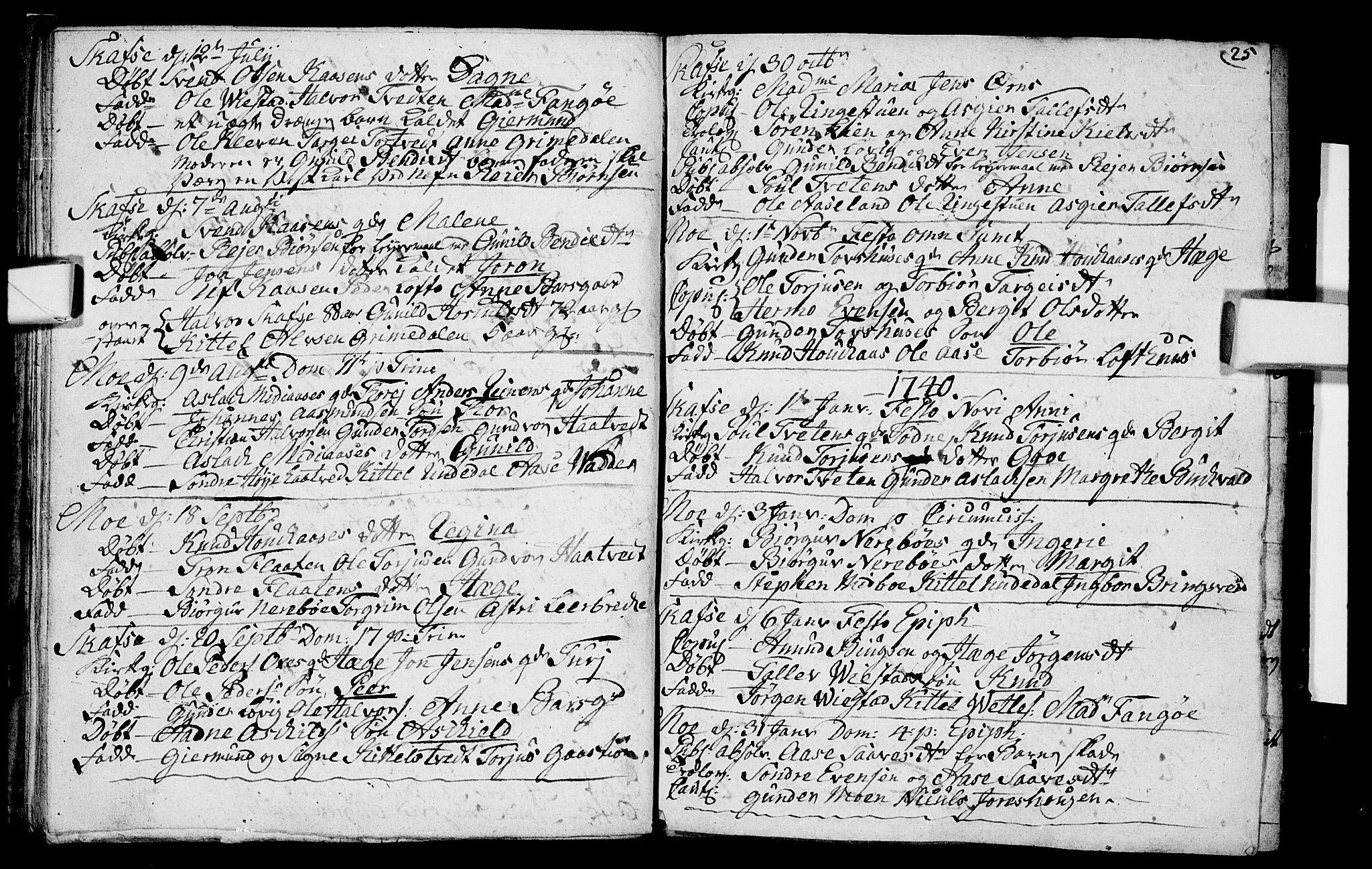 SAKO, Mo kirkebøker, F/Fa/L0001: Ministerialbok nr. I 1, 1724-1748, s. 25