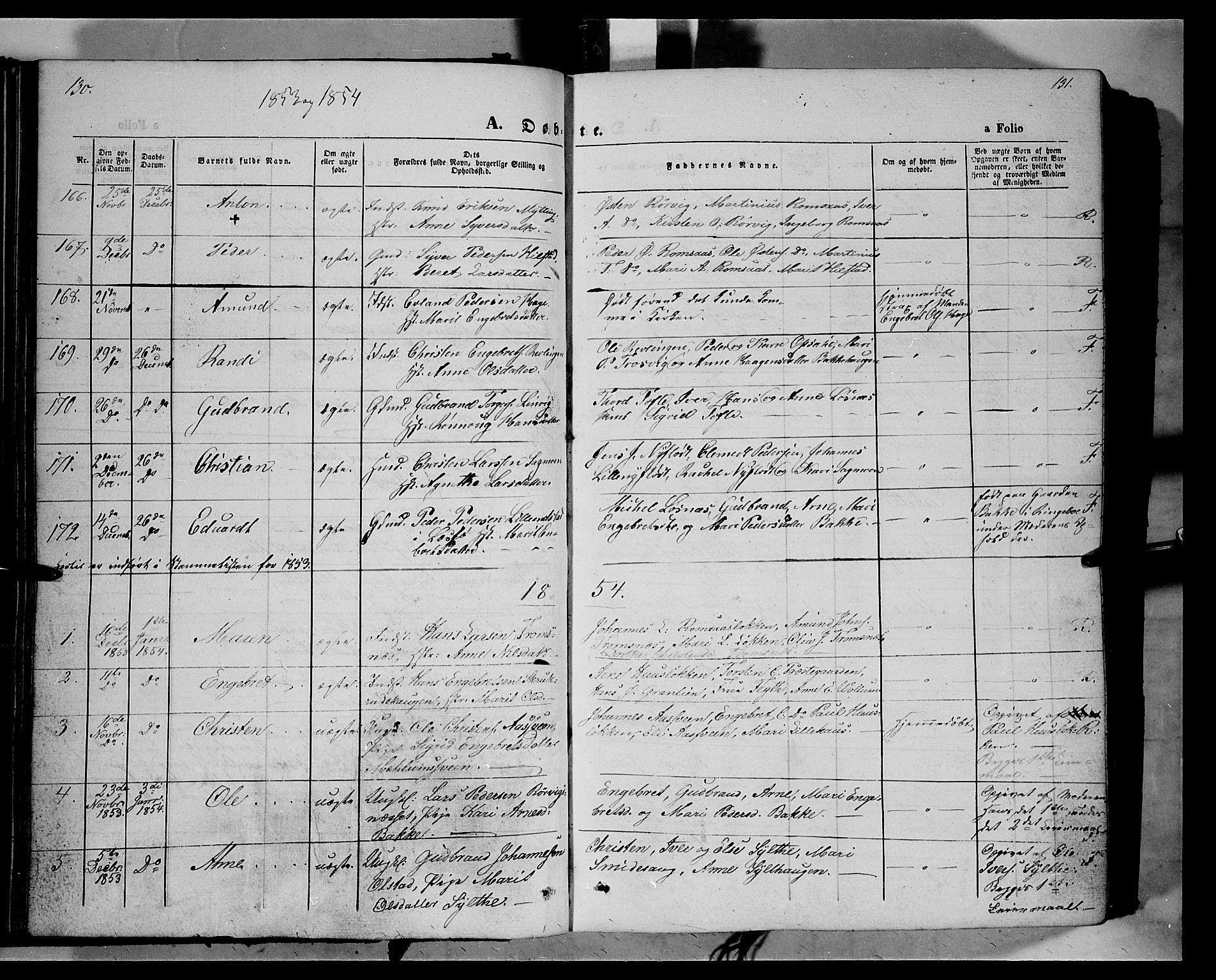 SAH, Ringebu prestekontor, Ministerialbok nr. 6, 1848-1859, s. 130-131