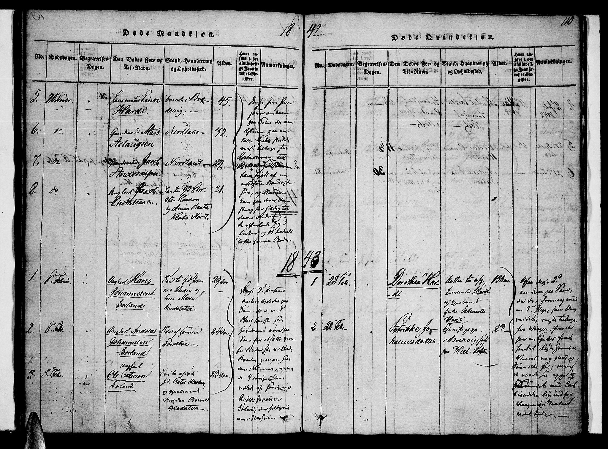 SAT, Ministerialprotokoller, klokkerbøker og fødselsregistre - Nordland, 807/L0120: Ministerialbok nr. 807A03, 1821-1848, s. 110