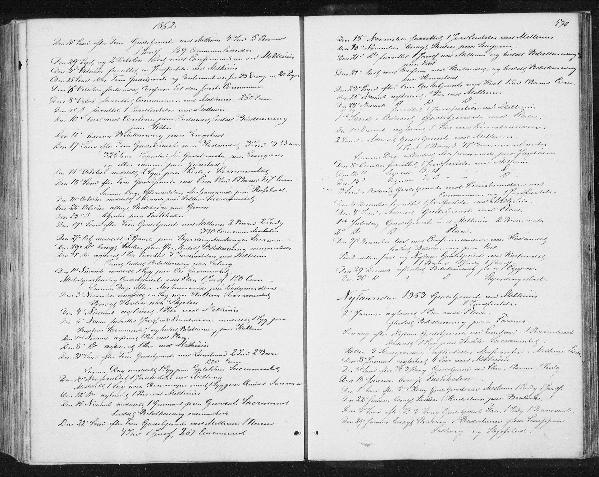 SAT, Ministerialprotokoller, klokkerbøker og fødselsregistre - Sør-Trøndelag, 691/L1077: Ministerialbok nr. 691A09, 1862-1873, s. 570