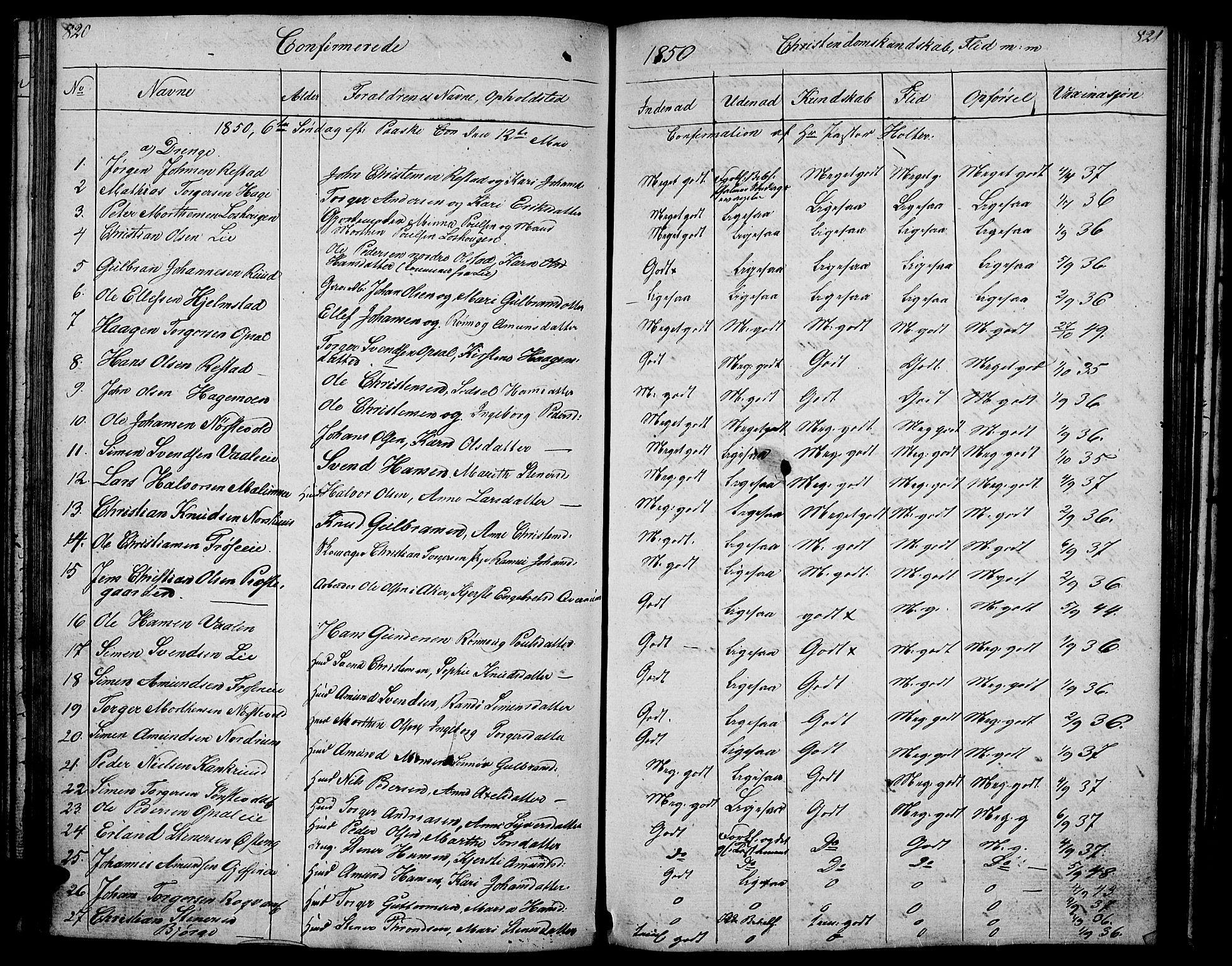 SAH, Gausdal prestekontor, Klokkerbok nr. 4, 1835-1870, s. 820-821