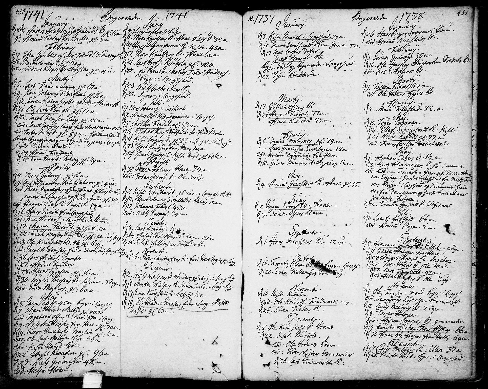 SAKO, Bamble kirkebøker, F/Fa/L0001: Ministerialbok nr. I 1, 1702-1774, s. 450-451