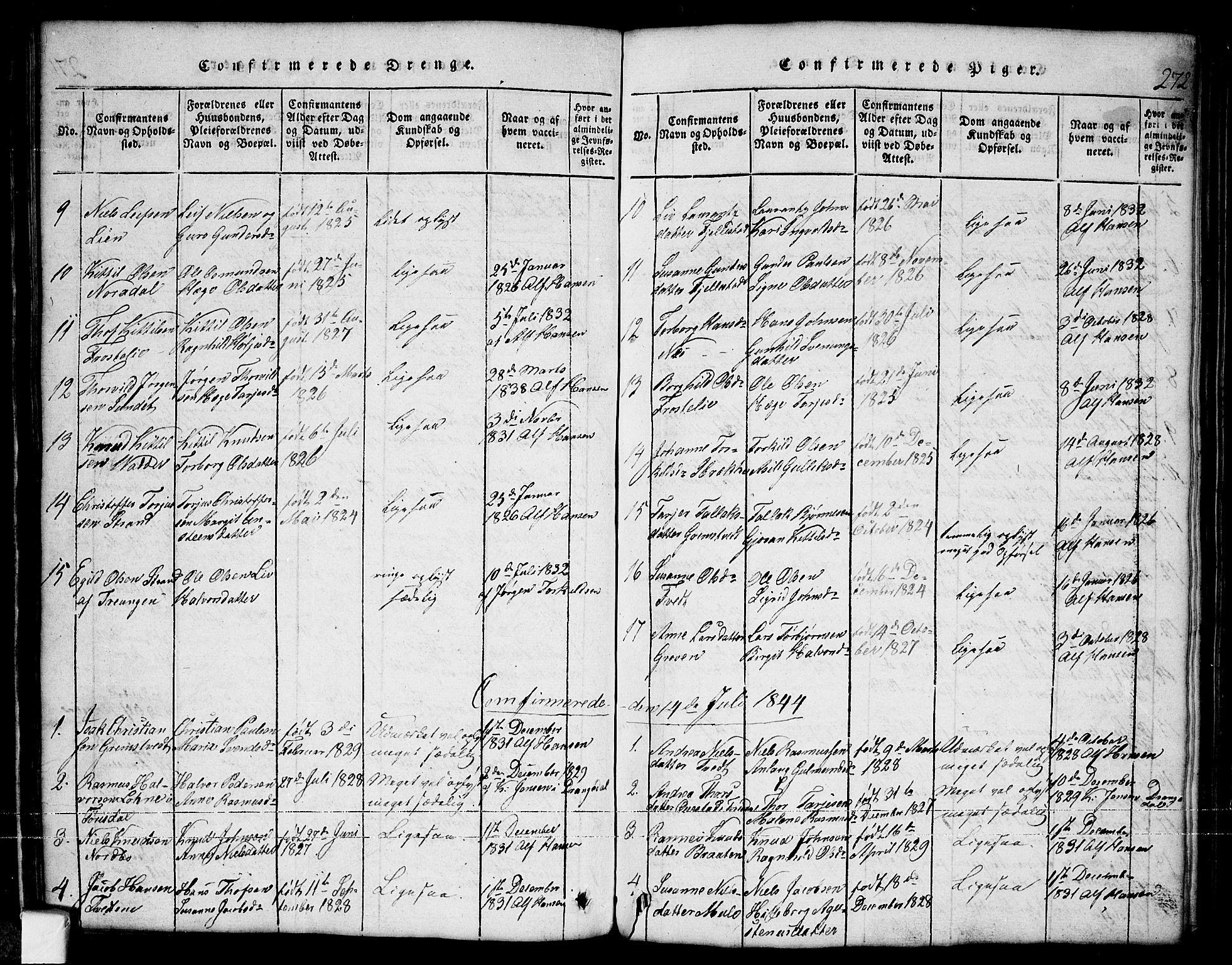 SAKO, Nissedal kirkebøker, G/Ga/L0001: Klokkerbok nr. I 1, 1814-1860, s. 272