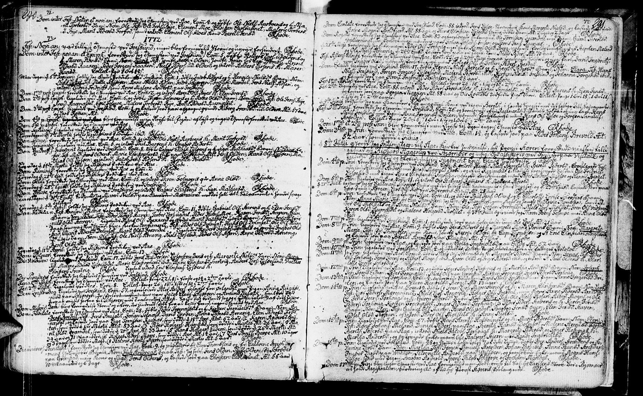 SAT, Ministerialprotokoller, klokkerbøker og fødselsregistre - Sør-Trøndelag, 655/L0672: Ministerialbok nr. 655A01, 1750-1779, s. 290-291