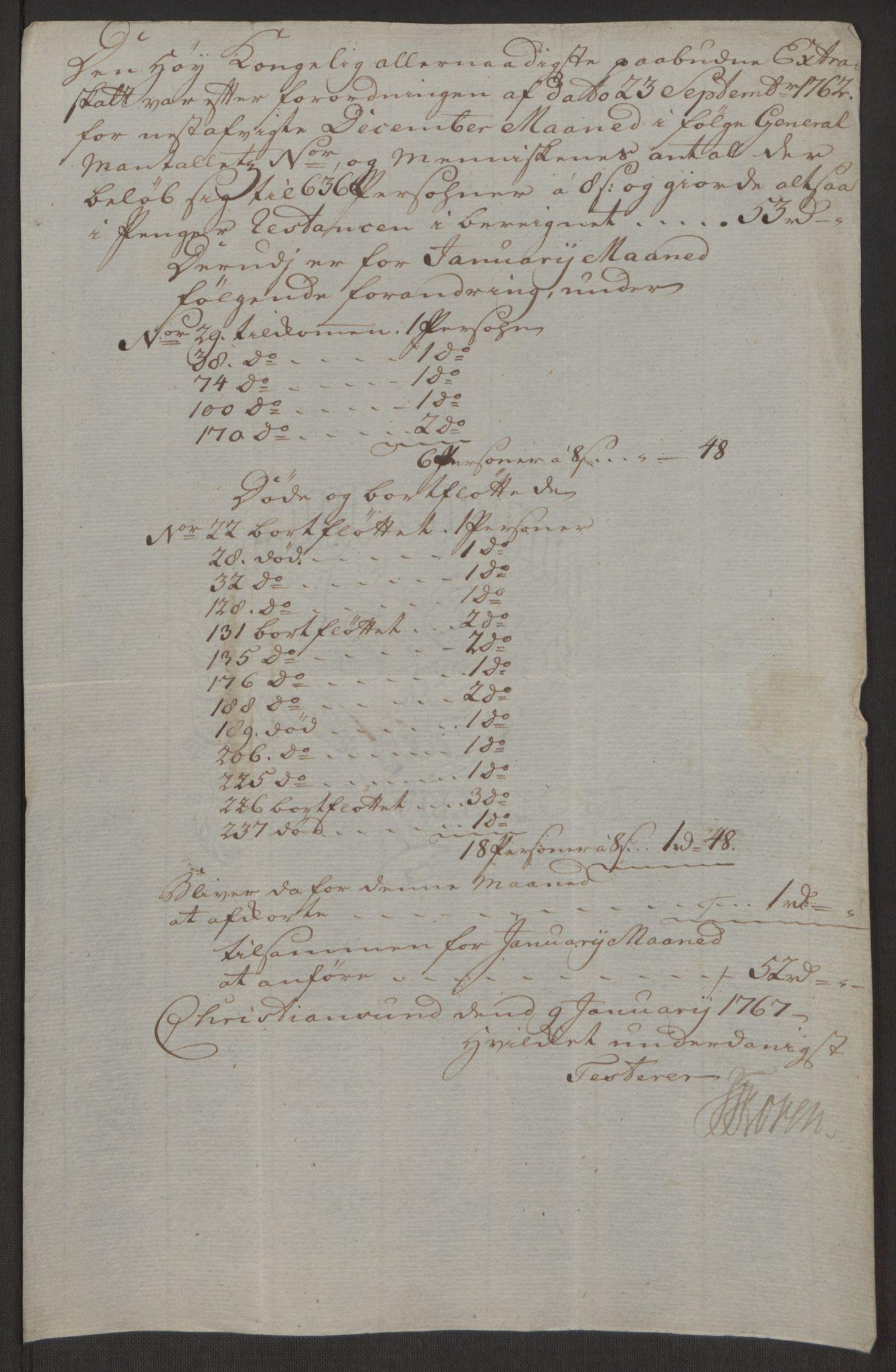 RA, Rentekammeret inntil 1814, Reviderte regnskaper, Byregnskaper, R/Rr/L0495: [R1] Kontribusjonsregnskap, 1762-1772, s. 150
