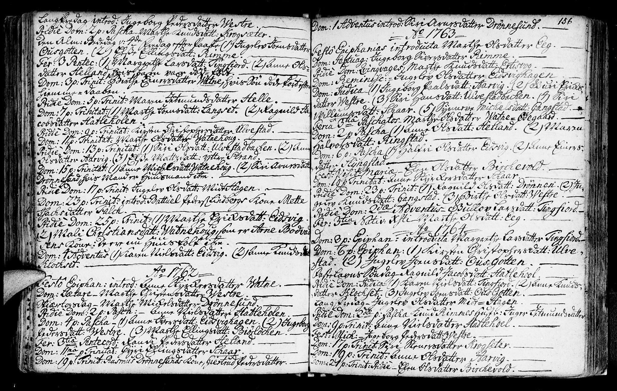 SAT, Ministerialprotokoller, klokkerbøker og fødselsregistre - Møre og Romsdal, 525/L0371: Ministerialbok nr. 525A01, 1699-1777, s. 156