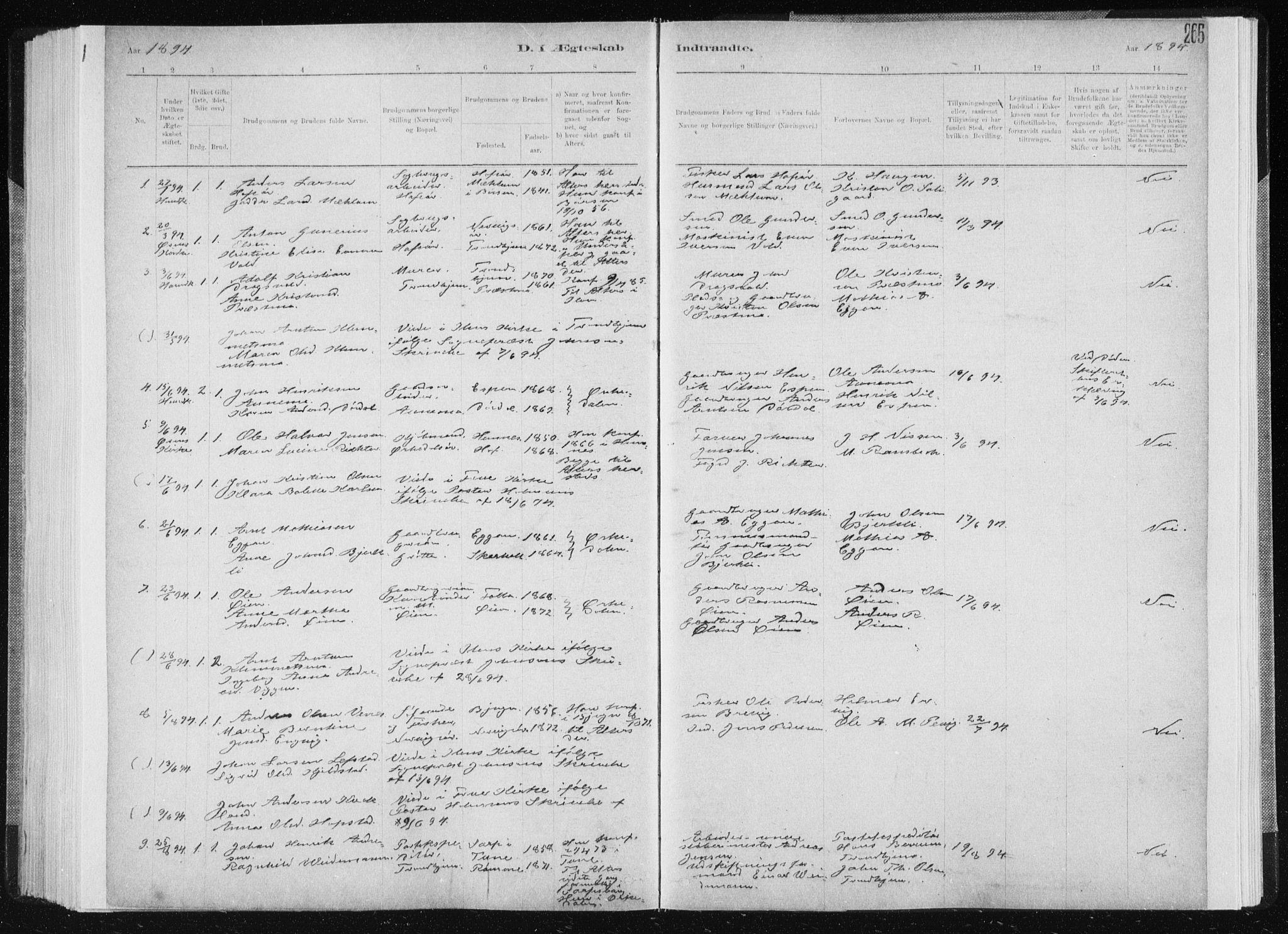 SAT, Ministerialprotokoller, klokkerbøker og fødselsregistre - Sør-Trøndelag, 668/L0818: Klokkerbok nr. 668C07, 1885-1898, s. 265