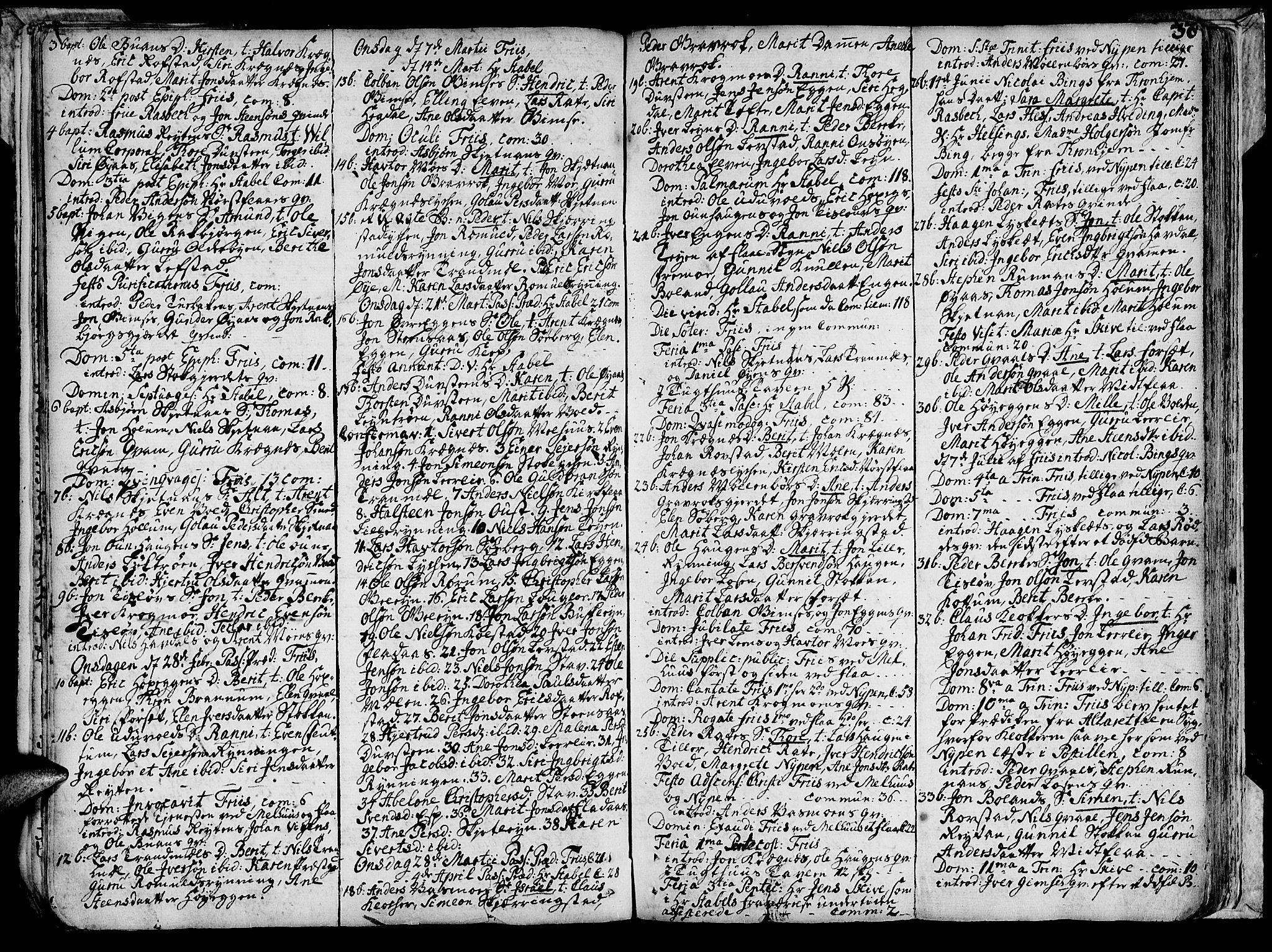 SAT, Ministerialprotokoller, klokkerbøker og fødselsregistre - Sør-Trøndelag, 691/L1057: Ministerialbok nr. 691A01 /1, 1740-1767, s. 38