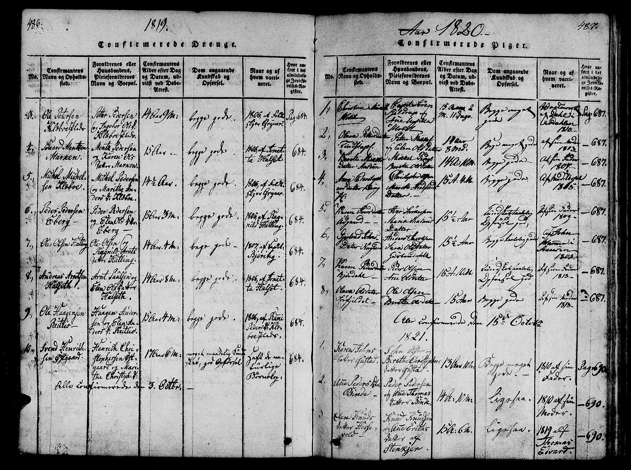 SAT, Ministerialprotokoller, klokkerbøker og fødselsregistre - Nord-Trøndelag, 746/L0441: Ministerialbok nr. 746A03 /1, 1816-1827, s. 486-487