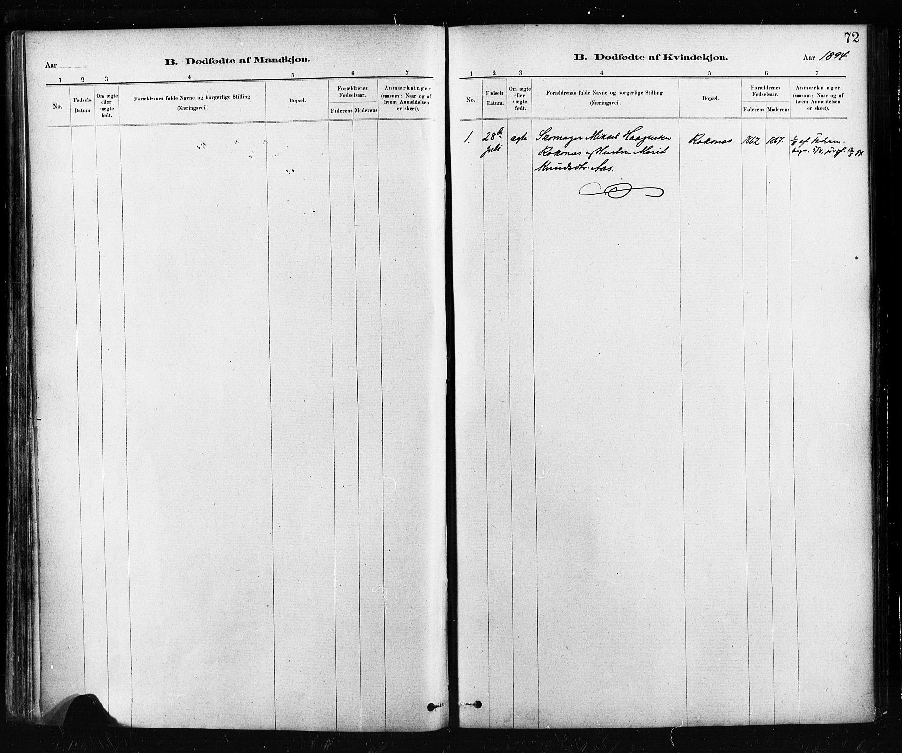 SAT, Ministerialprotokoller, klokkerbøker og fødselsregistre - Sør-Trøndelag, 674/L0871: Ministerialbok nr. 674A03, 1880-1896, s. 72