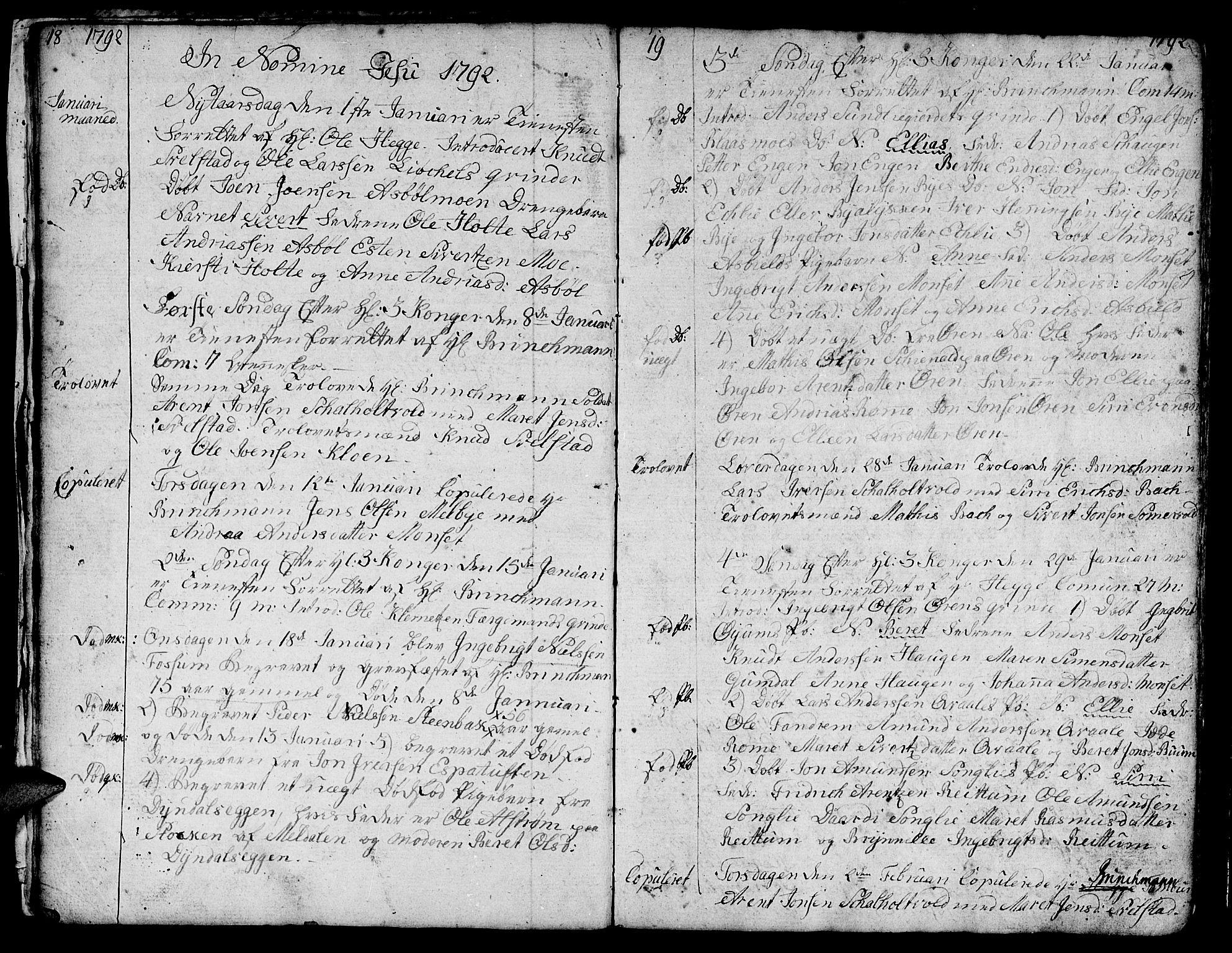 SAT, Ministerialprotokoller, klokkerbøker og fødselsregistre - Sør-Trøndelag, 668/L0815: Klokkerbok nr. 668C04, 1791-1815, s. 18-19
