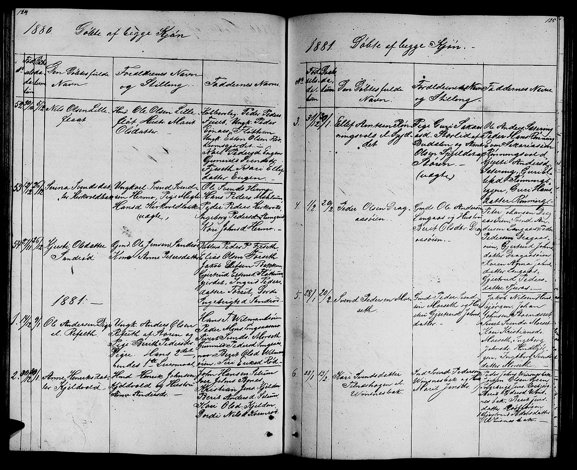 SAT, Ministerialprotokoller, klokkerbøker og fødselsregistre - Sør-Trøndelag, 688/L1027: Klokkerbok nr. 688C02, 1861-1889, s. 124-125