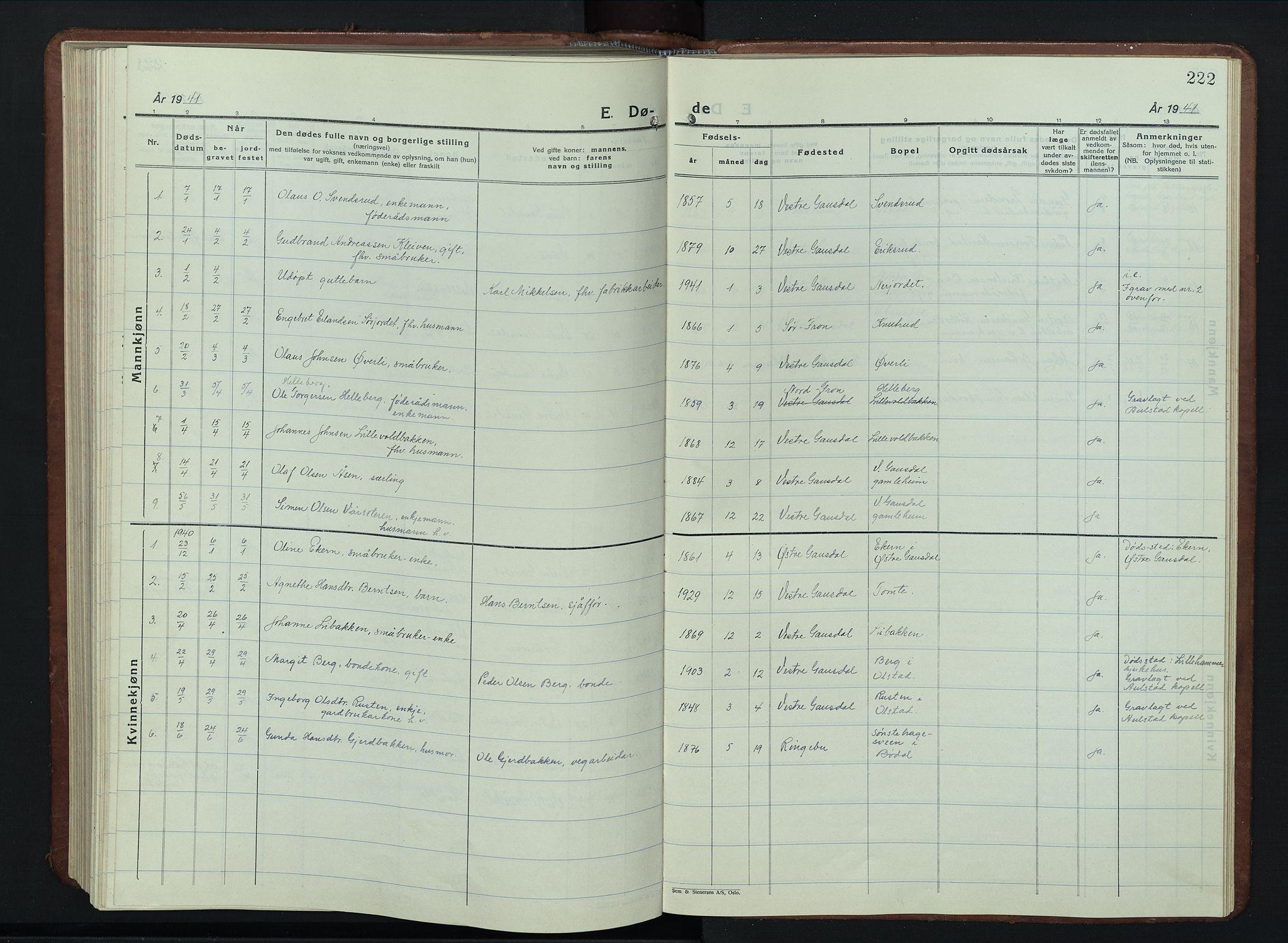SAH, Vestre Gausdal prestekontor, Klokkerbok nr. 5, 1926-1955, s. 222