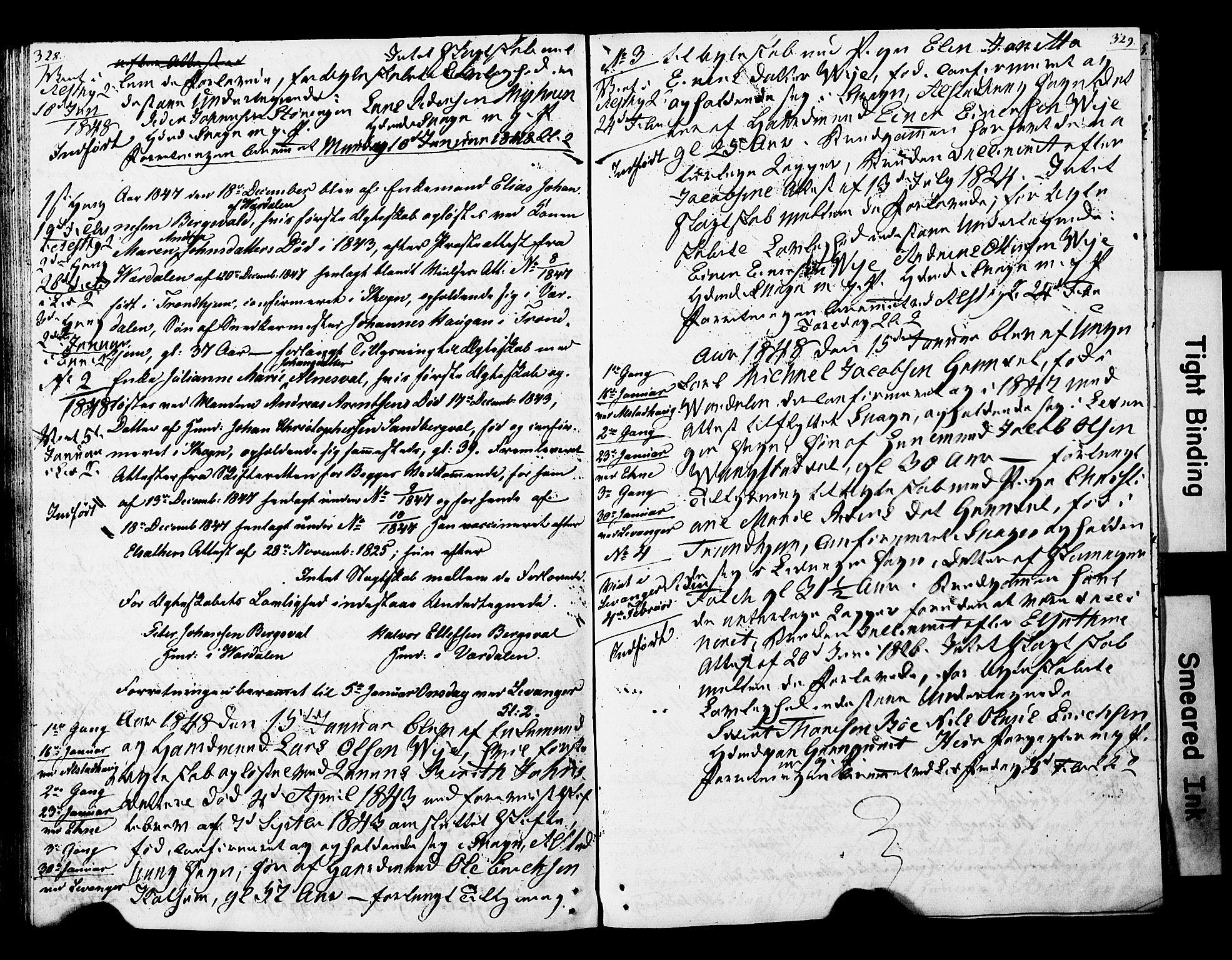 SAT, Ministerialprotokoller, klokkerbøker og fødselsregistre - Nord-Trøndelag, 717/L0160: Forlovererklæringer nr. 717A10, 1828-1850, s. 328-329