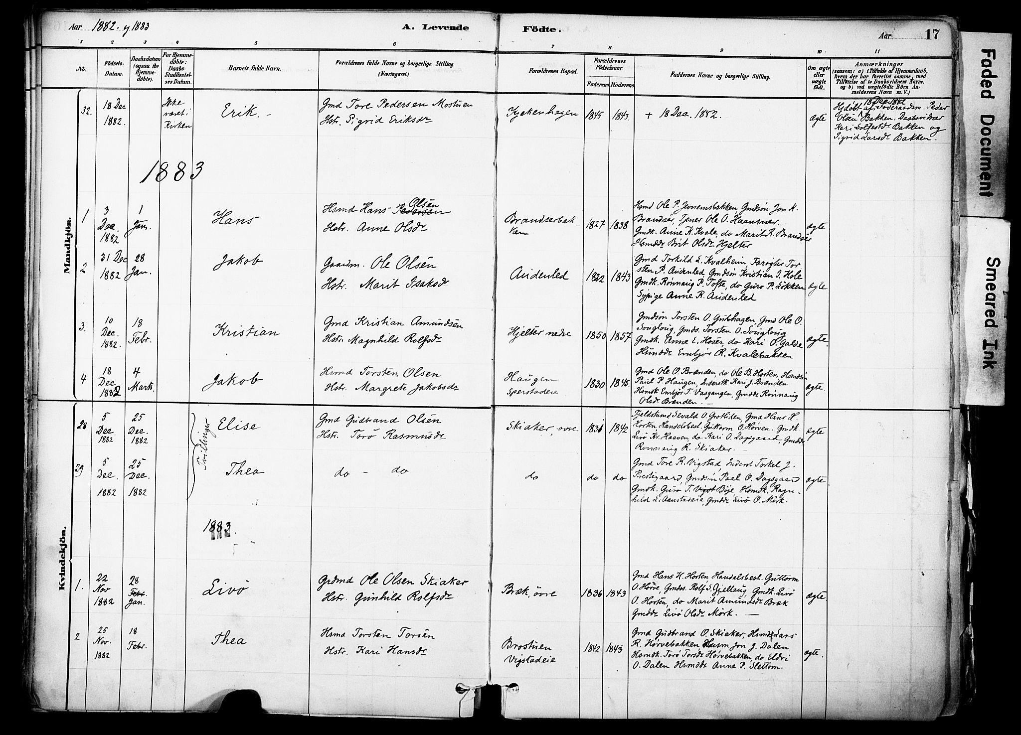 SAH, Skjåk prestekontor, Ministerialbok nr. 3, 1880-1907, s. 17
