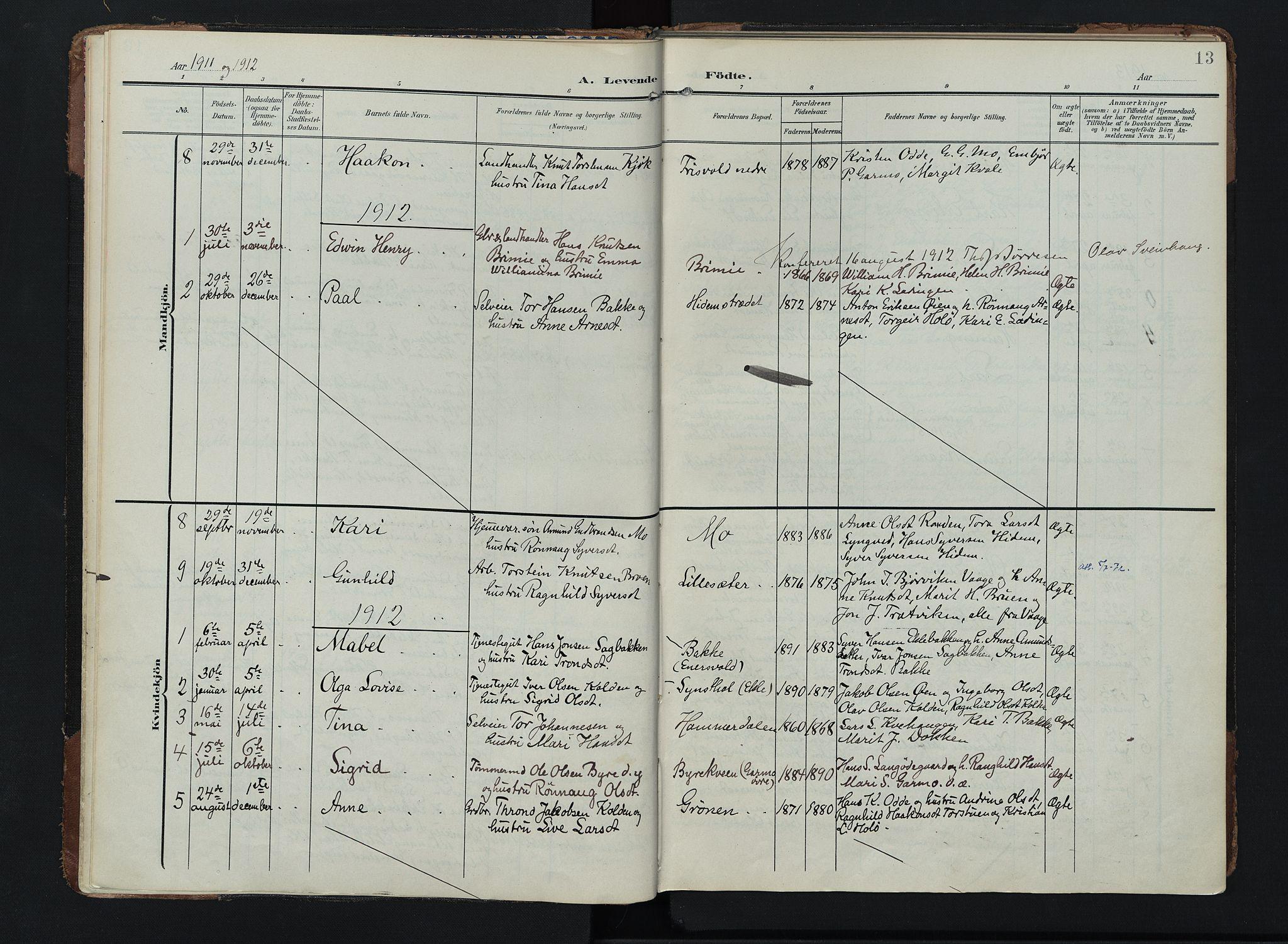SAH, Lom prestekontor, K/L0011: Ministerialbok nr. 11, 1904-1928, s. 13