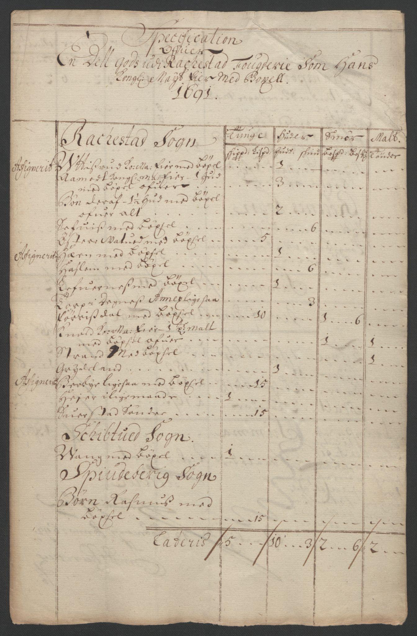 RA, Rentekammeret inntil 1814, Reviderte regnskaper, Fogderegnskap, R05/L0278: Fogderegnskap Rakkestad, 1691-1693, s. 13