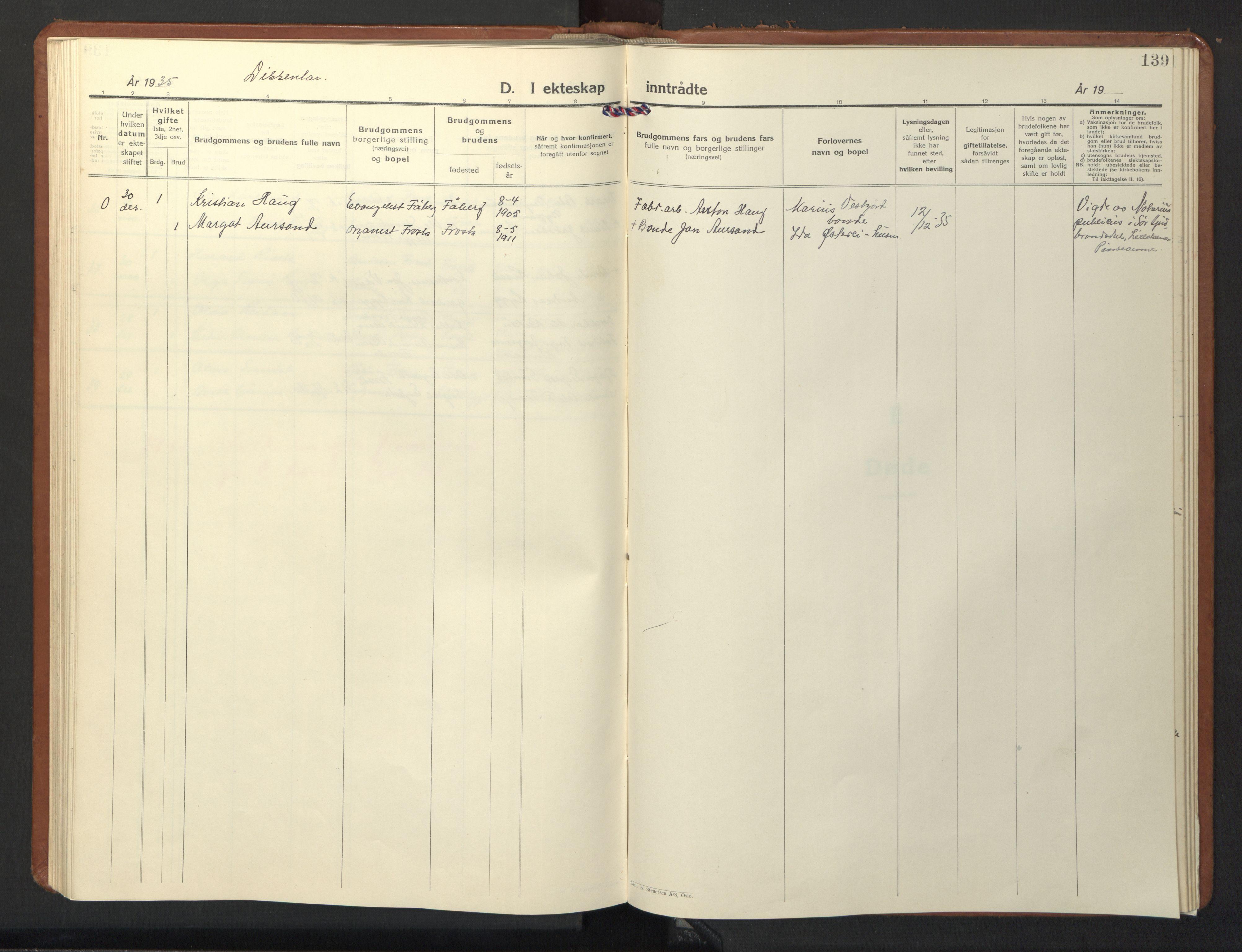 SAT, Ministerialprotokoller, klokkerbøker og fødselsregistre - Nord-Trøndelag, 713/L0125: Klokkerbok nr. 713C02, 1931-1941, s. 139