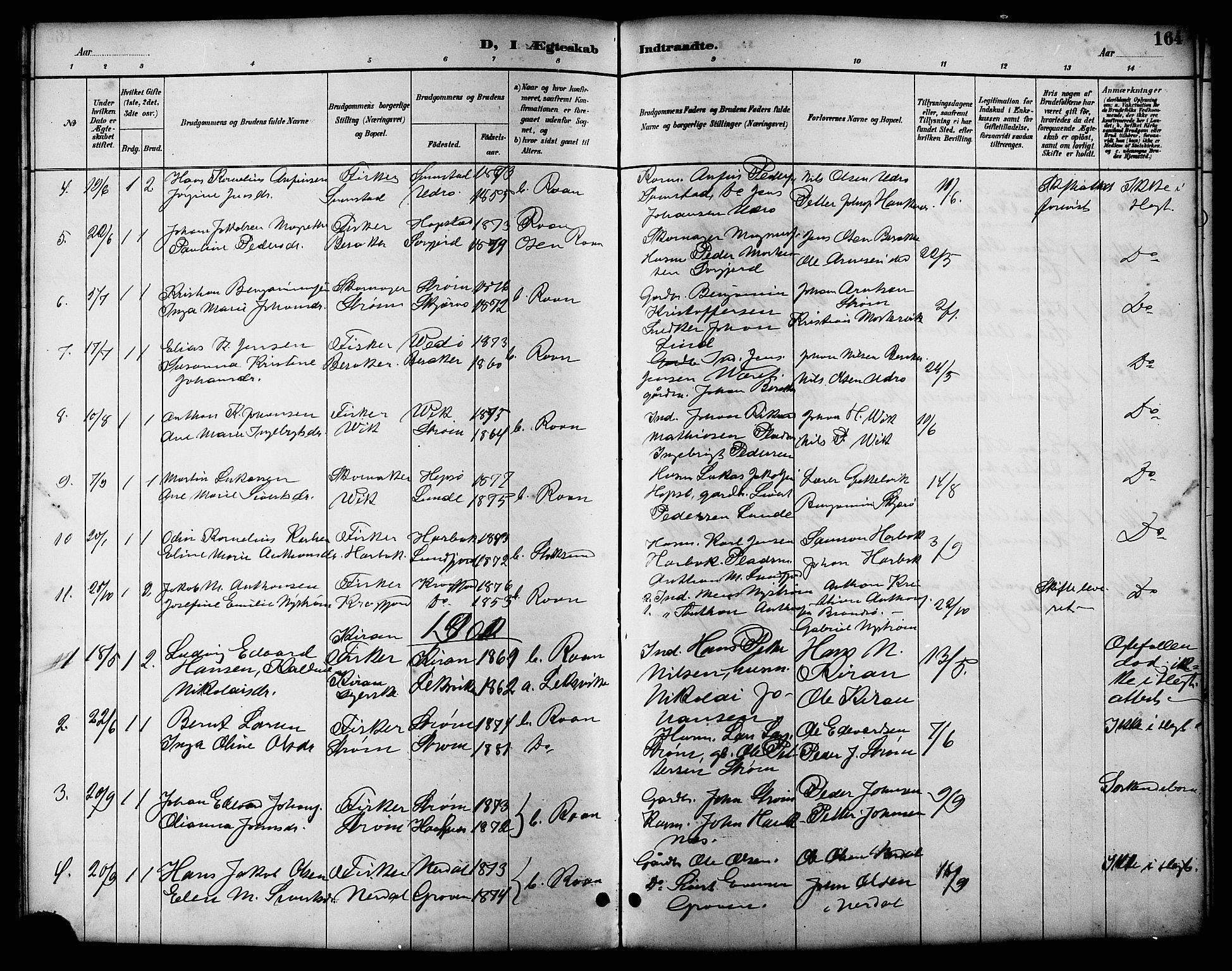 SAT, Ministerialprotokoller, klokkerbøker og fødselsregistre - Sør-Trøndelag, 657/L0716: Klokkerbok nr. 657C03, 1889-1904, s. 164