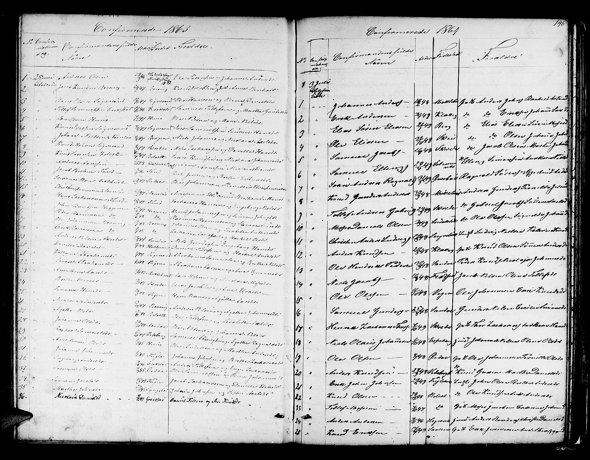 SAB, Jølster sokneprestembete, H/Hab/Habb/L0001: Klokkerbok nr. B 1, 1853-1887, s. 146