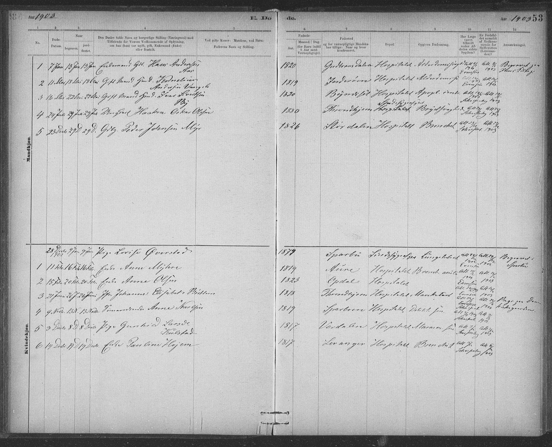 SAT, Ministerialprotokoller, klokkerbøker og fødselsregistre - Sør-Trøndelag, 623/L0470: Ministerialbok nr. 623A04, 1884-1938, s. 53