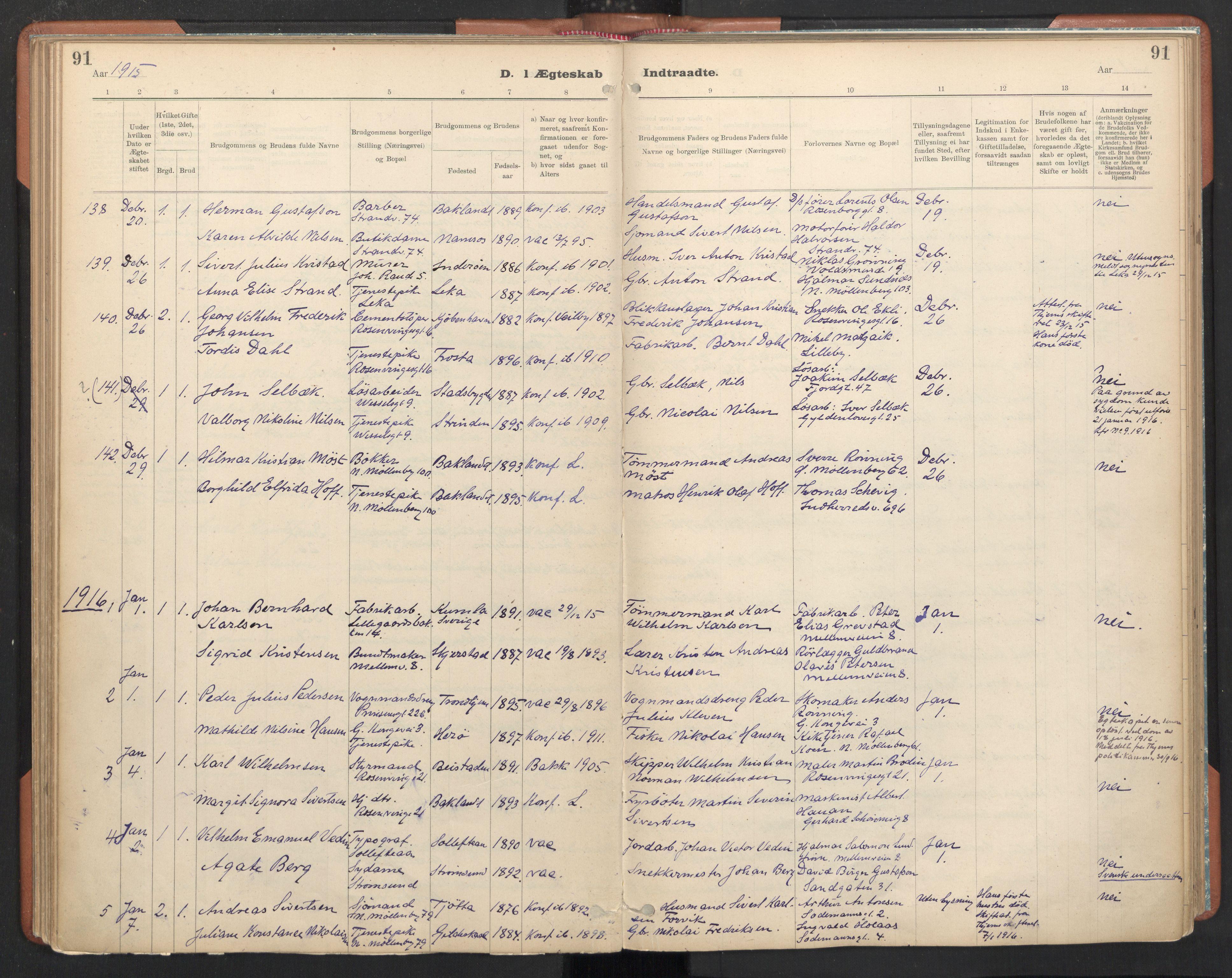 SAT, Ministerialprotokoller, klokkerbøker og fødselsregistre - Sør-Trøndelag, 605/L0244: Ministerialbok nr. 605A06, 1908-1954, s. 91
