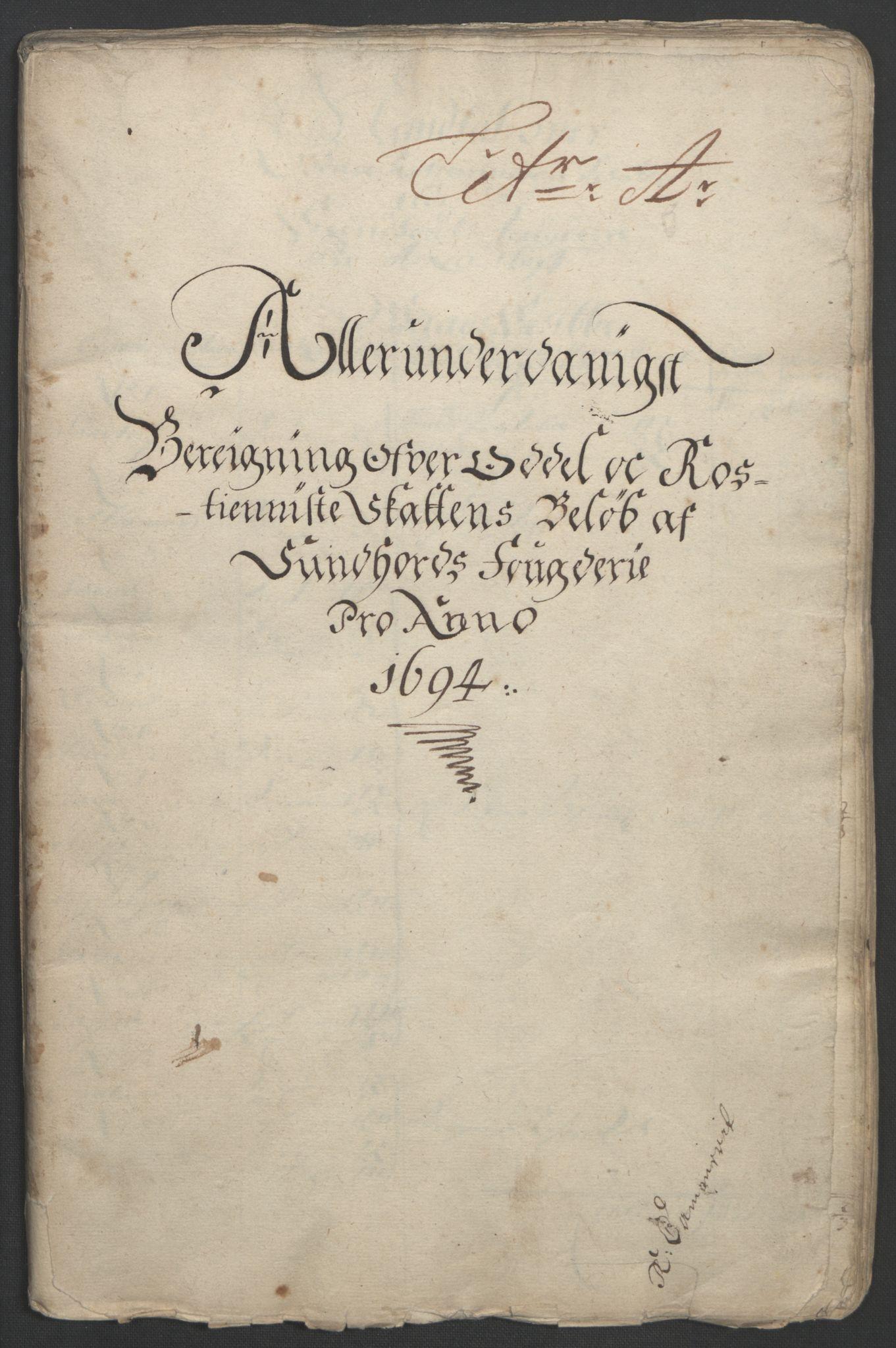 RA, Rentekammeret inntil 1814, Reviderte regnskaper, Fogderegnskap, R48/L2975: Fogderegnskap Sunnhordland og Hardanger, 1694, s. 19