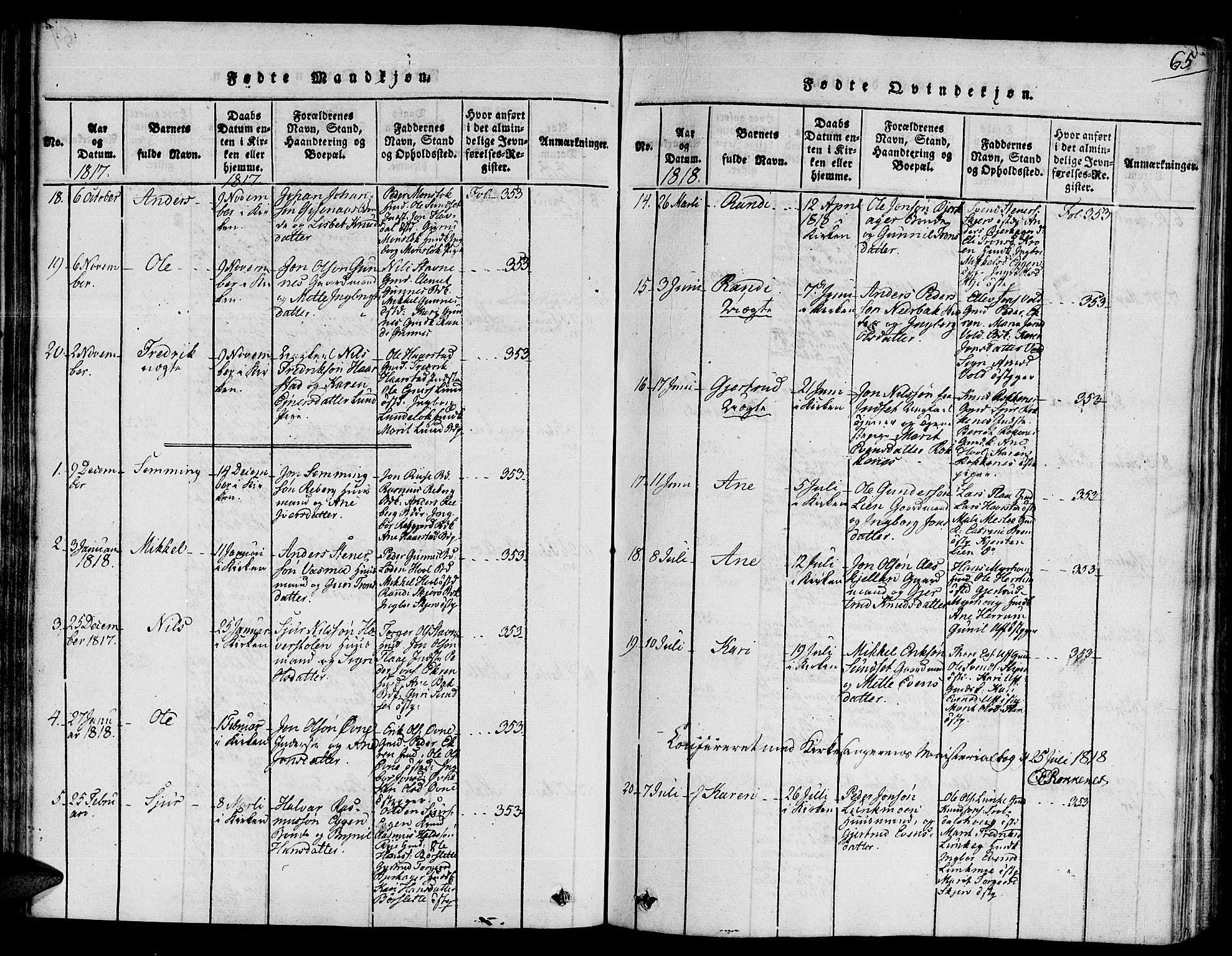 SAT, Ministerialprotokoller, klokkerbøker og fødselsregistre - Sør-Trøndelag, 672/L0854: Ministerialbok nr. 672A06 /2, 1816-1829, s. 65
