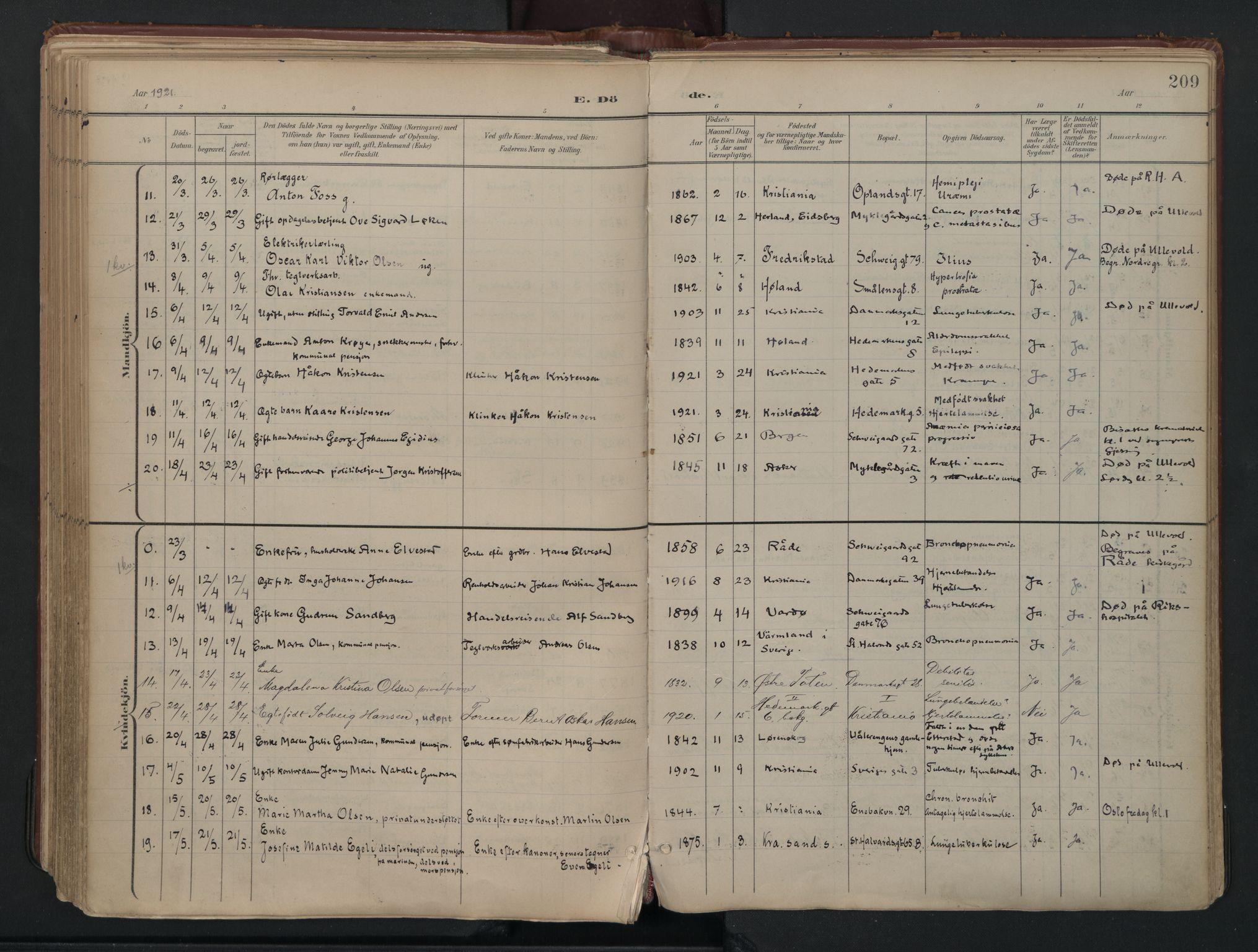 SAO, Vålerengen prestekontor Kirkebøker, F/Fa/L0003: Ministerialbok nr. 3, 1899-1930, s. 209