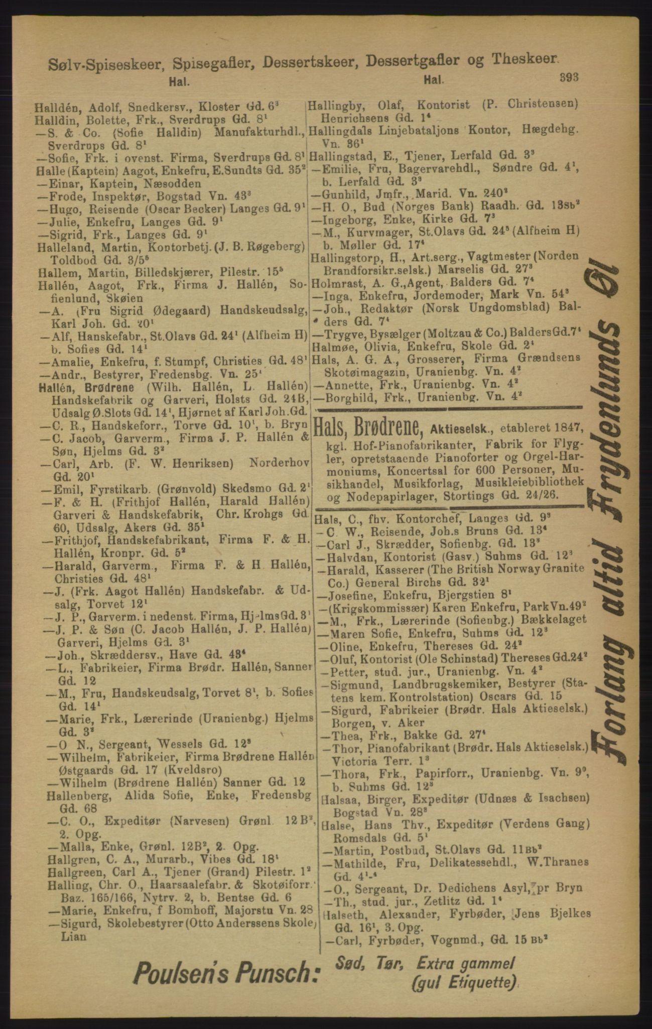 RA, Kristiania adressebok (publikasjon)*, 1906, s. 393