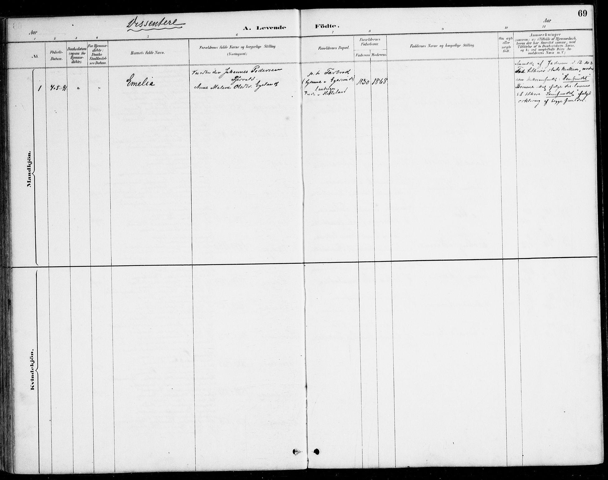 SAK, Herad sokneprestkontor, F/Fa/Fab/L0005: Ministerialbok nr. A 5, 1886-1913, s. 69