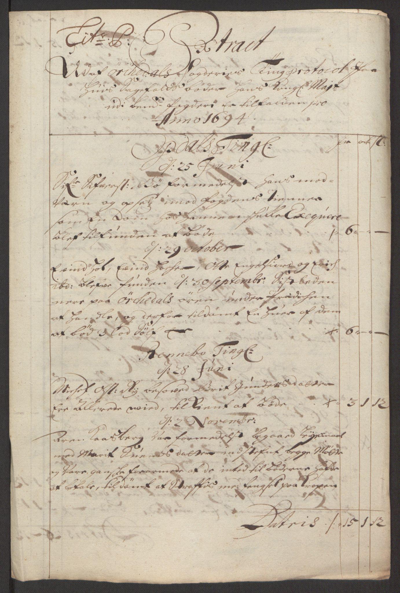 RA, Rentekammeret inntil 1814, Reviderte regnskaper, Fogderegnskap, R60/L3944: Fogderegnskap Orkdal og Gauldal, 1694, s. 170