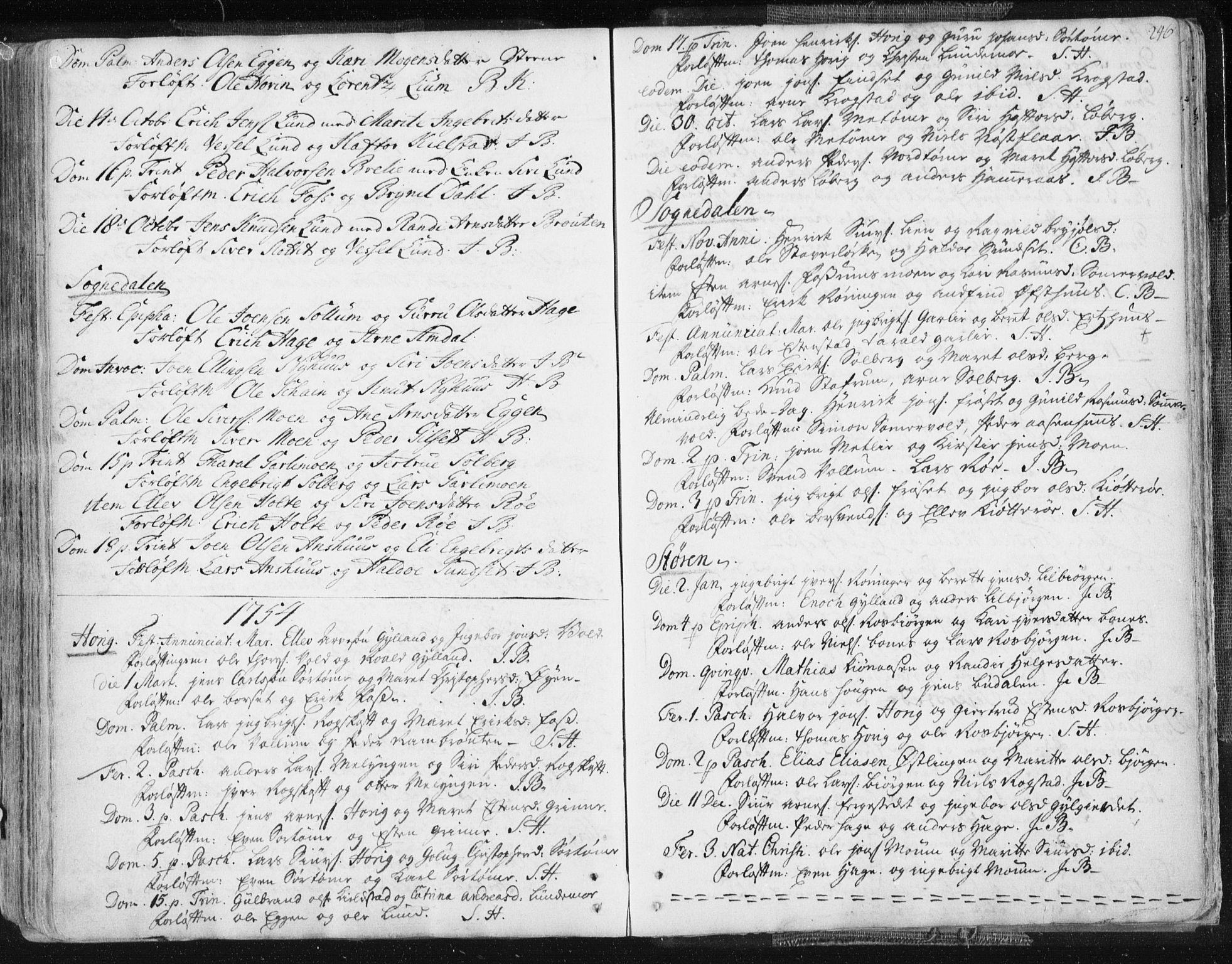 SAT, Ministerialprotokoller, klokkerbøker og fødselsregistre - Sør-Trøndelag, 687/L0991: Ministerialbok nr. 687A02, 1747-1790, s. 246