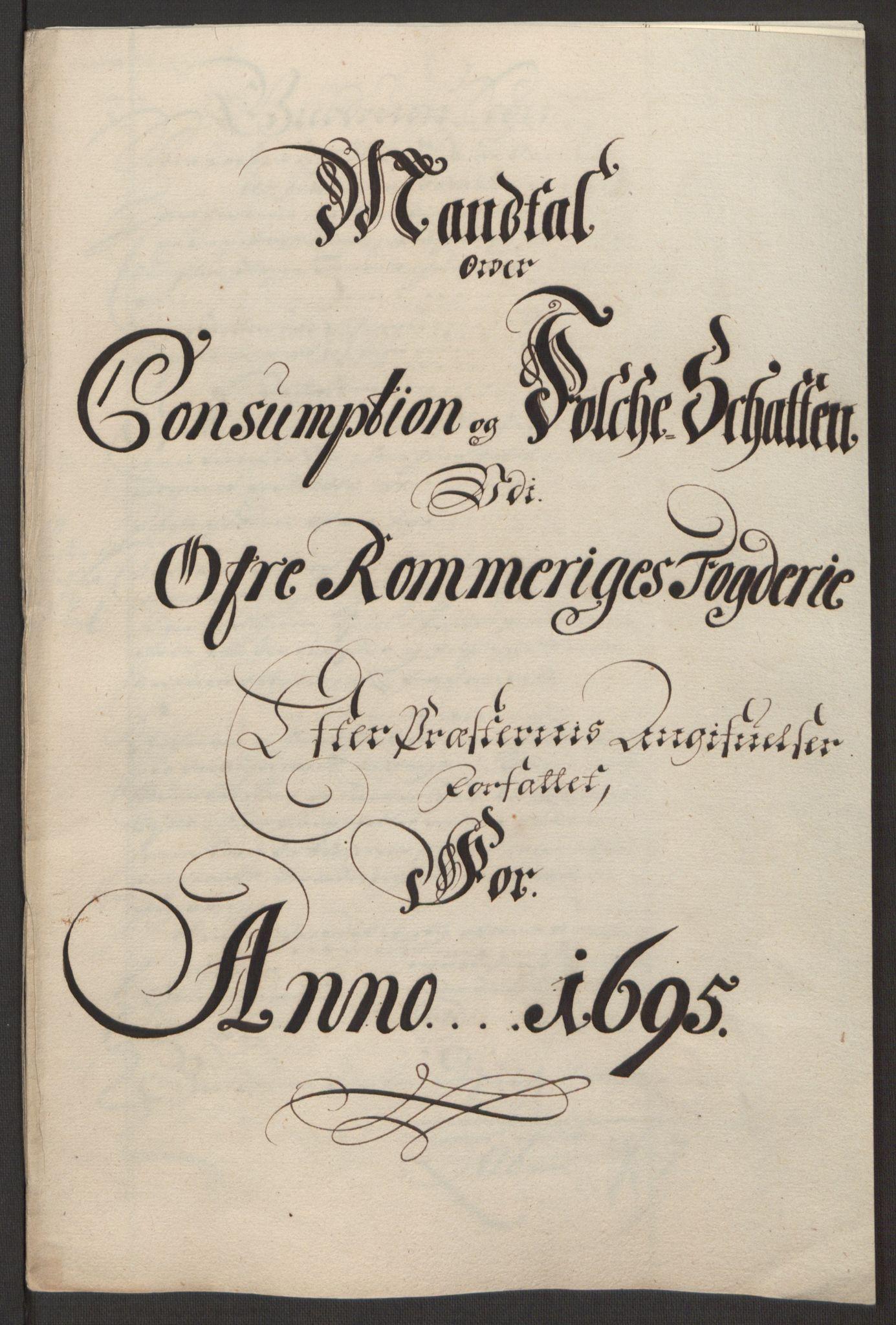 RA, Rentekammeret inntil 1814, Reviderte regnskaper, Fogderegnskap, R12/L0707: Fogderegnskap Øvre Romerike, 1695, s. 237