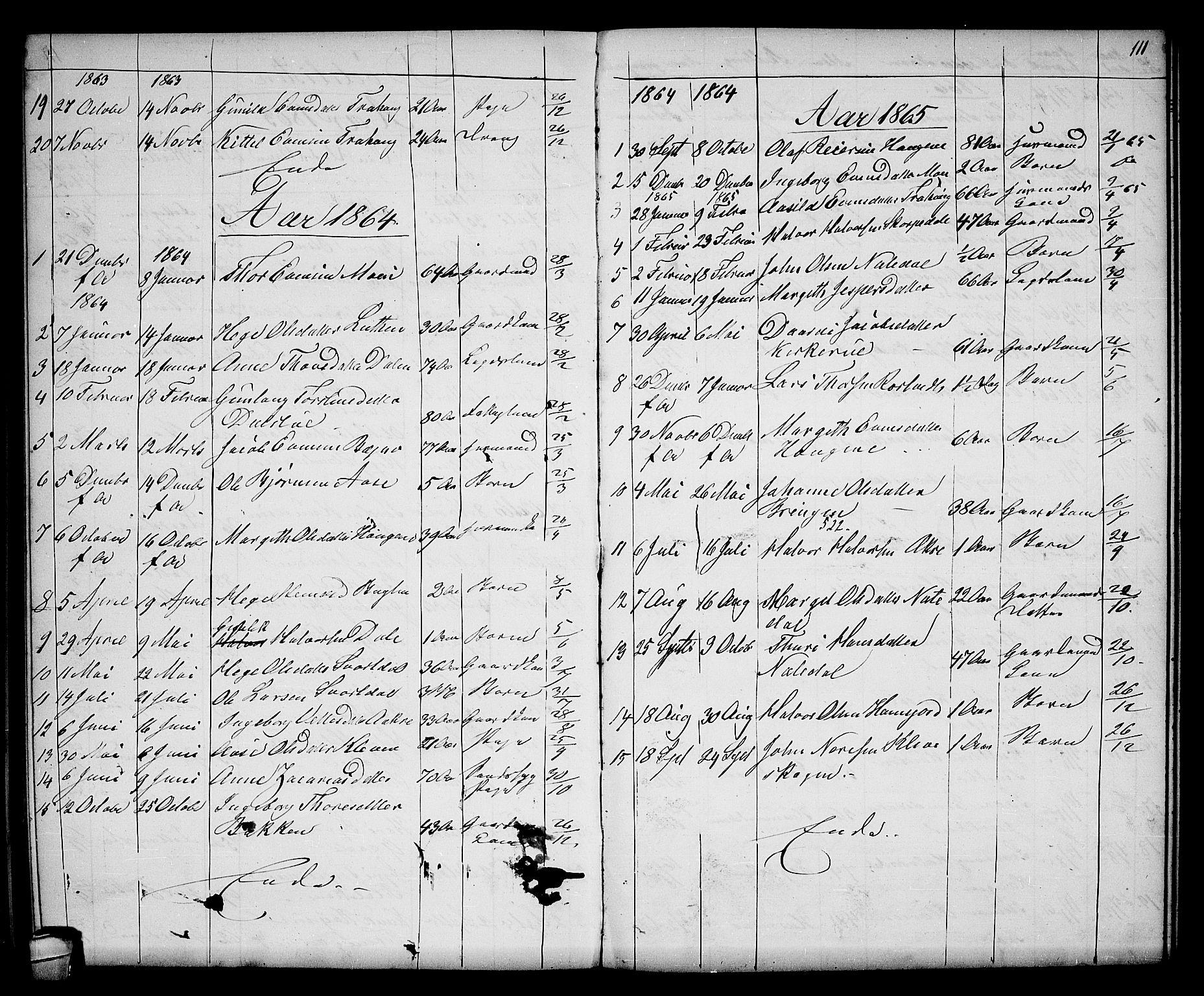 SAKO, Seljord kirkebøker, G/Gb/L0003: Klokkerbok nr. II 3, 1863-1884, s. 111